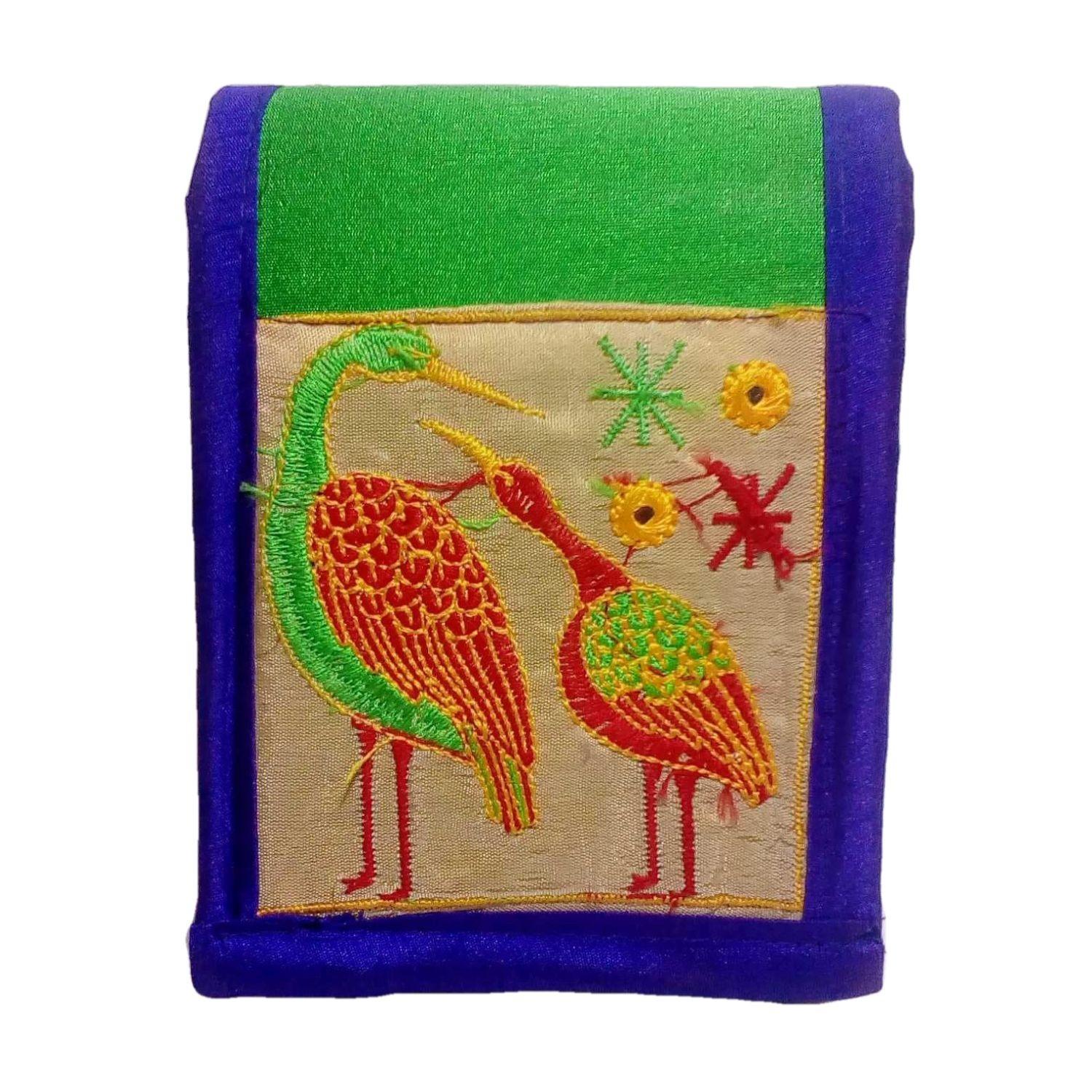 Handmade Excellent Green Genuine Sling Bag with embroidery work  by Women Self Help Groups of Rajasthan