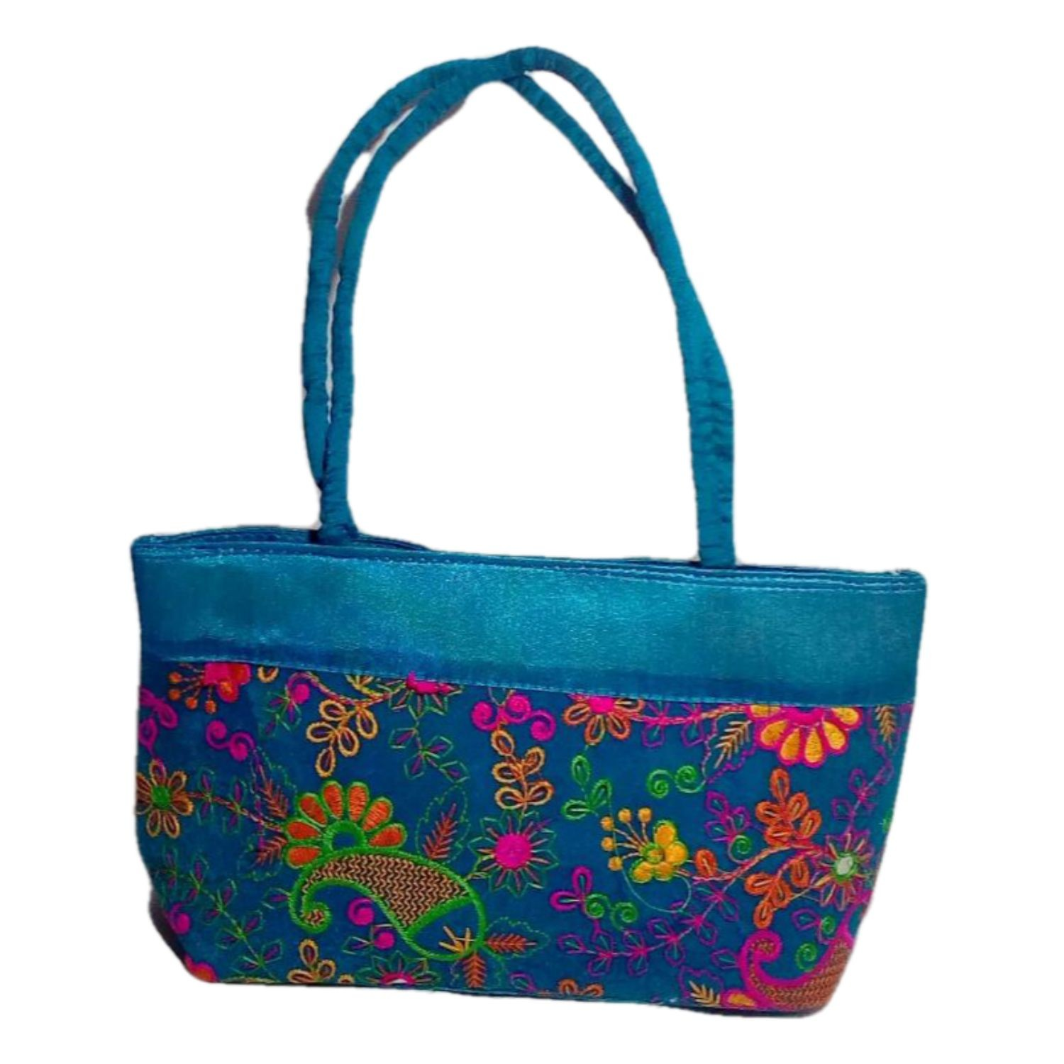 Handmade Excellent Blue Genuine Shoulder Bag  with embroidery work  by Women Self Help Groups of Rajasthan