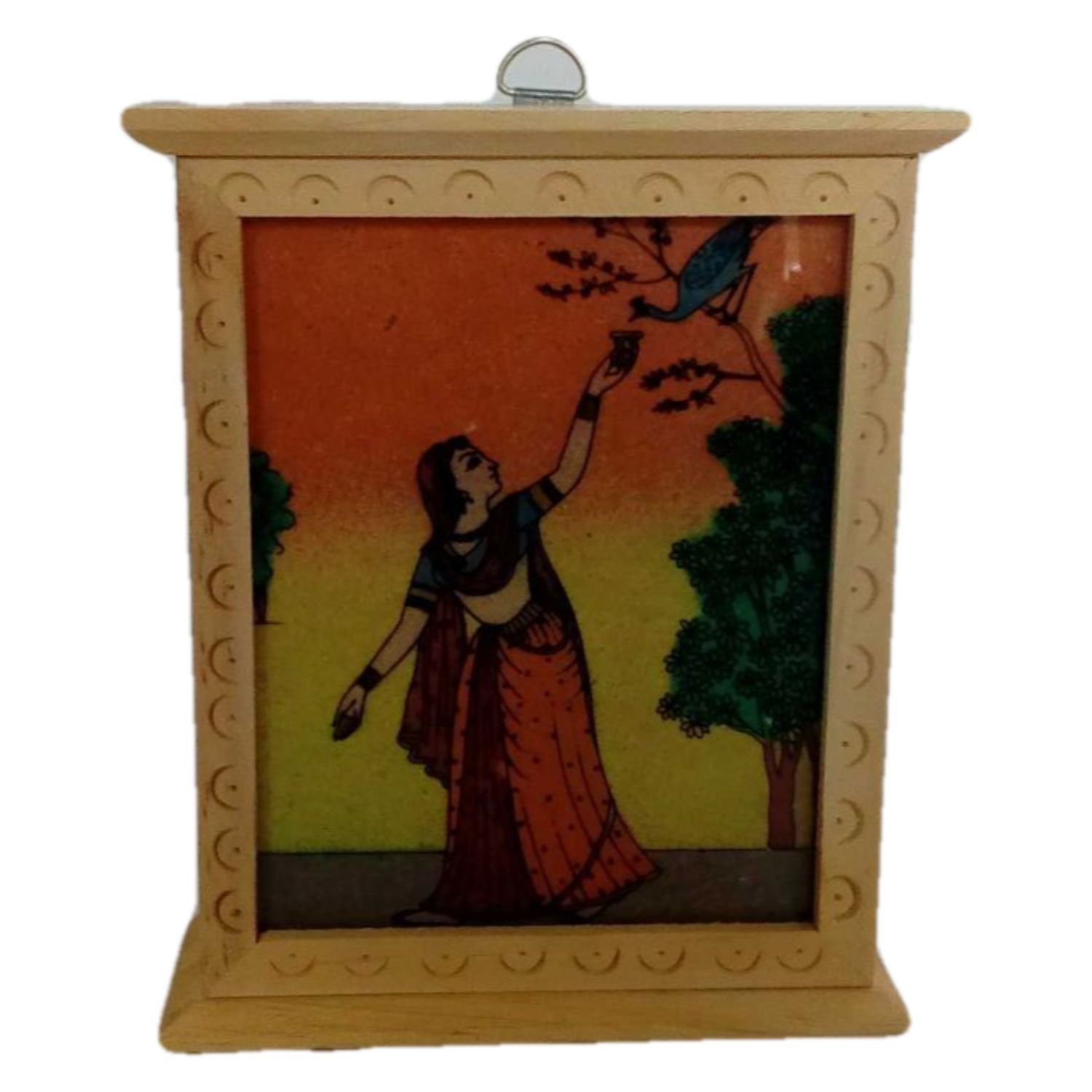 Handmade Excellent Multicolor Wooden Jewelery Box with Beautiful Rajasthani Art by Awarded Indian Rural Artisan