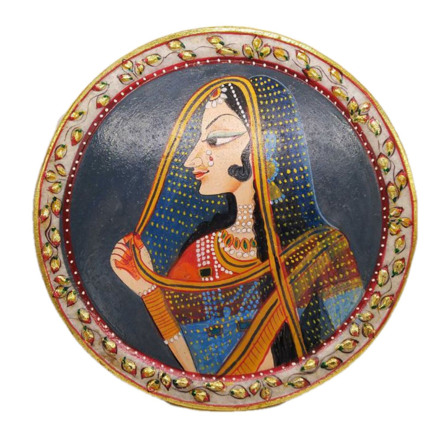 """India Meets India Handicraft Marble Serving Plate, Platter, Salad Snacks Platter, 12.5"""" Inch, Best Gifting Made By Awarded Indian Artisan"""