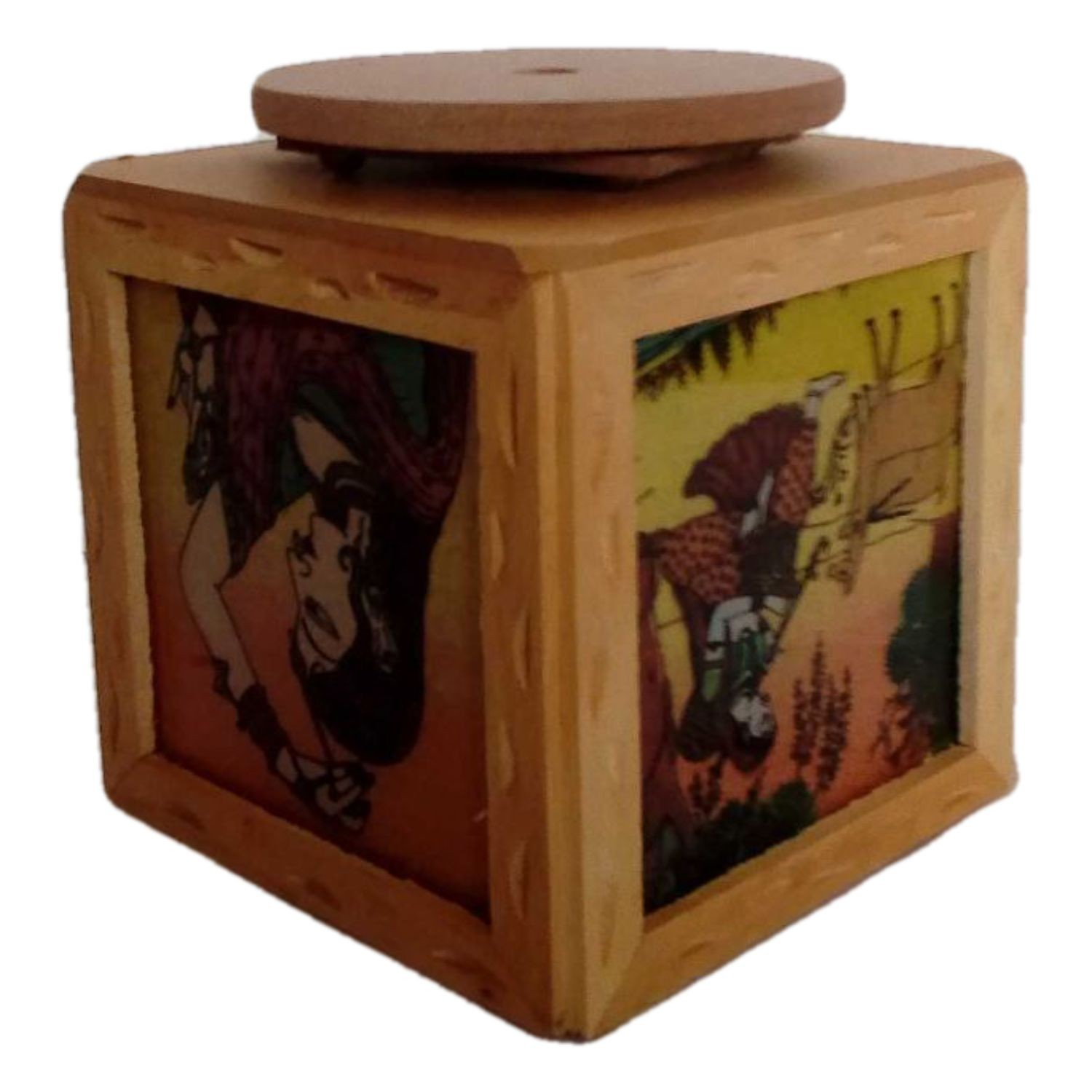 Handmade Excellent Multicolor Wooden pen and card stand with Beautiful Rajasthani Art by Awarded Indian Rural Artisan