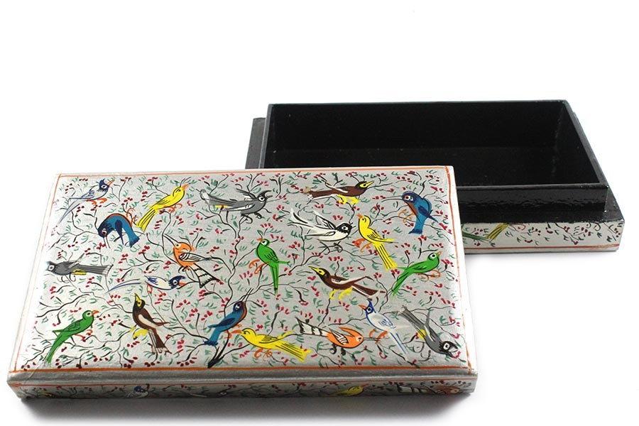 Exclusive Colorful Birds Floral Design Paper Mache Jewelry Box by artisans from Kashmir