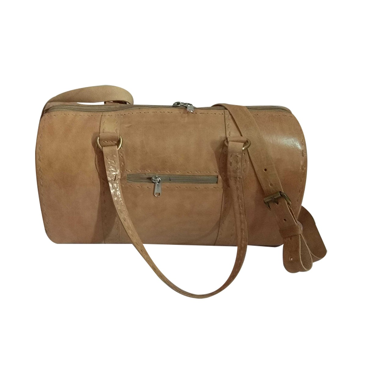 Handmade Beige Genuine Leather Vintage Travel Bag (Leather Weekend bag) by Rural Artisans