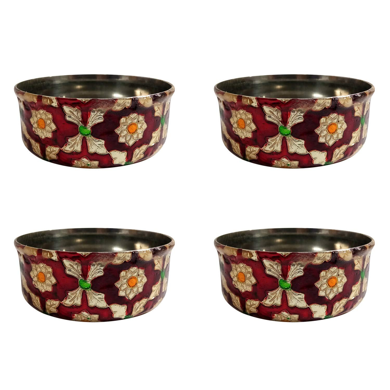 Handcrafted Stainless Steel Meenakari Art (MA) set of 4 Bowl By Rural Awarded Artisans.
