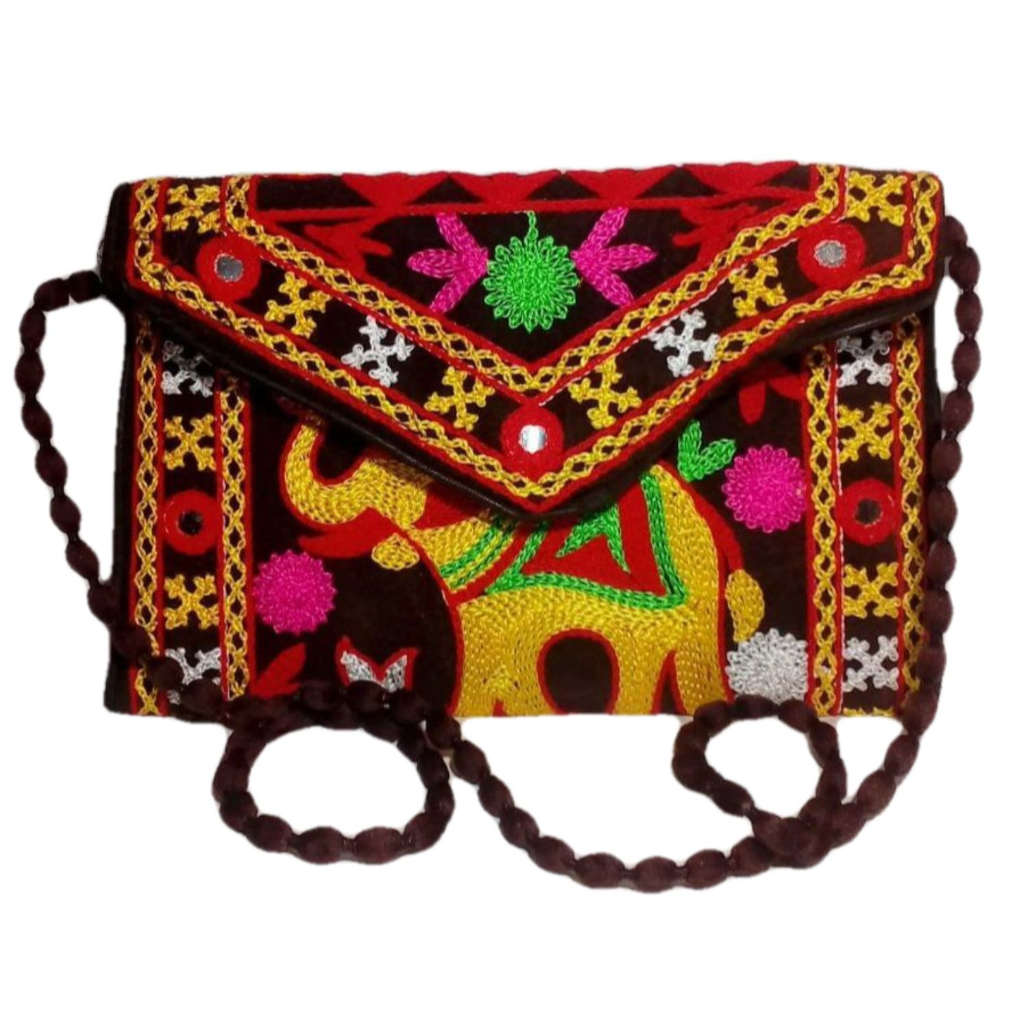 Handmade Excellent Brown Genuine Sling Bag with embroidery work  by Women Self Help Groups of Rajasthan