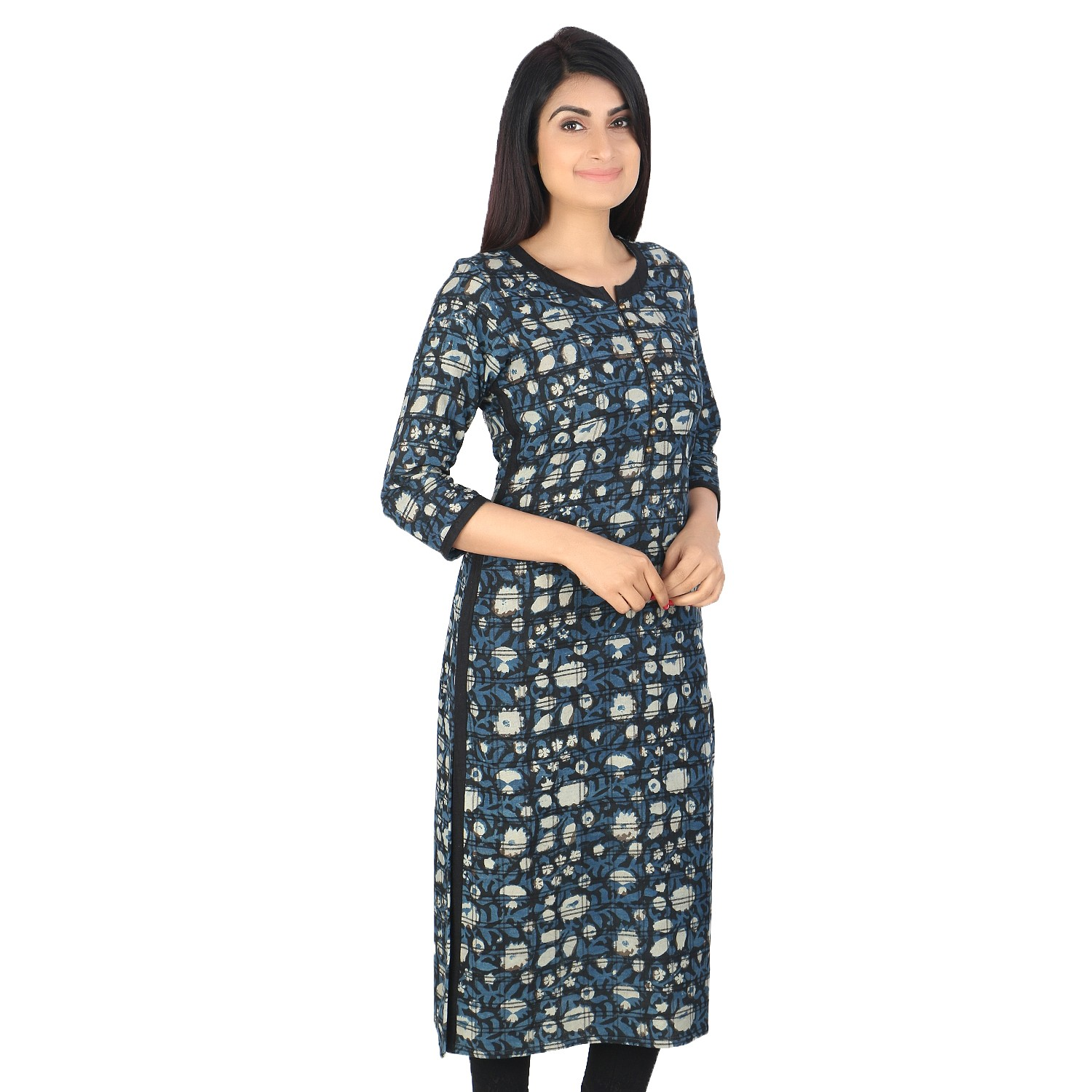 Indigo Black block printed khadi cotton long kurti by weavers of Bihar