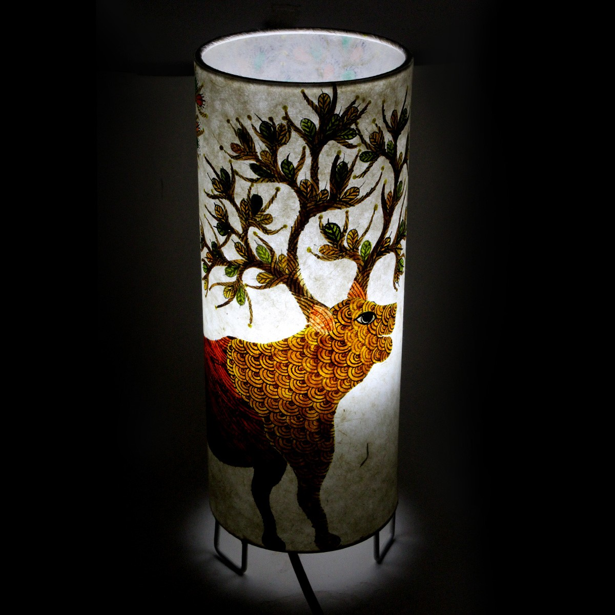 New Indian Classy Gond Art Handpainted Electric Decorative Night Lamp - Crafted On Handmade Canvas Paper and Steal Base By Awarded Tribal Artisans Of India