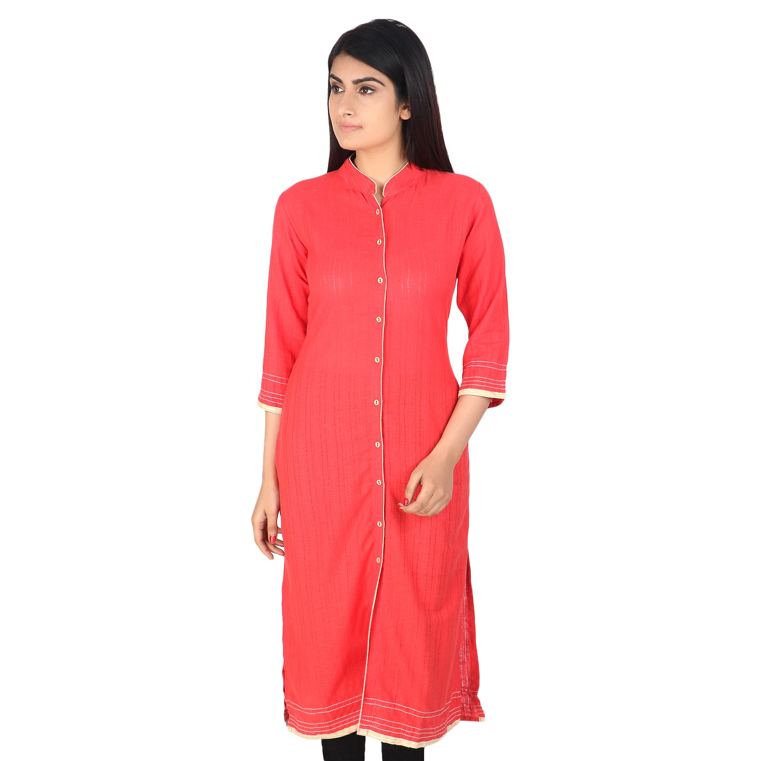 Peach khadi cotton plain long kurti by weavers of Bihar