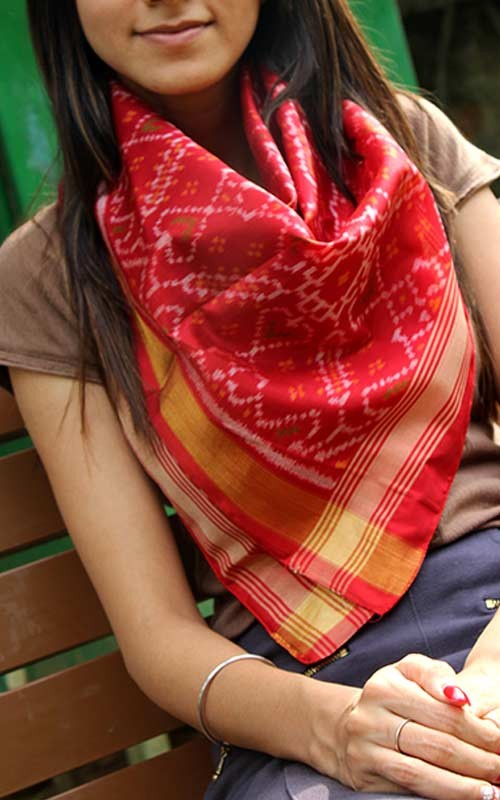 Hand Woven Red Patola Silk Ikat Scarf by Gujarat Artisans