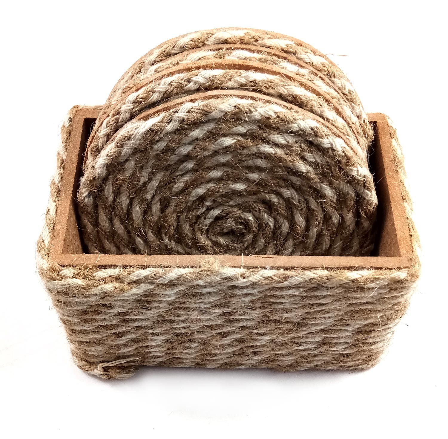 Brown Jute Rope Coaster Set of 4 by person with disability