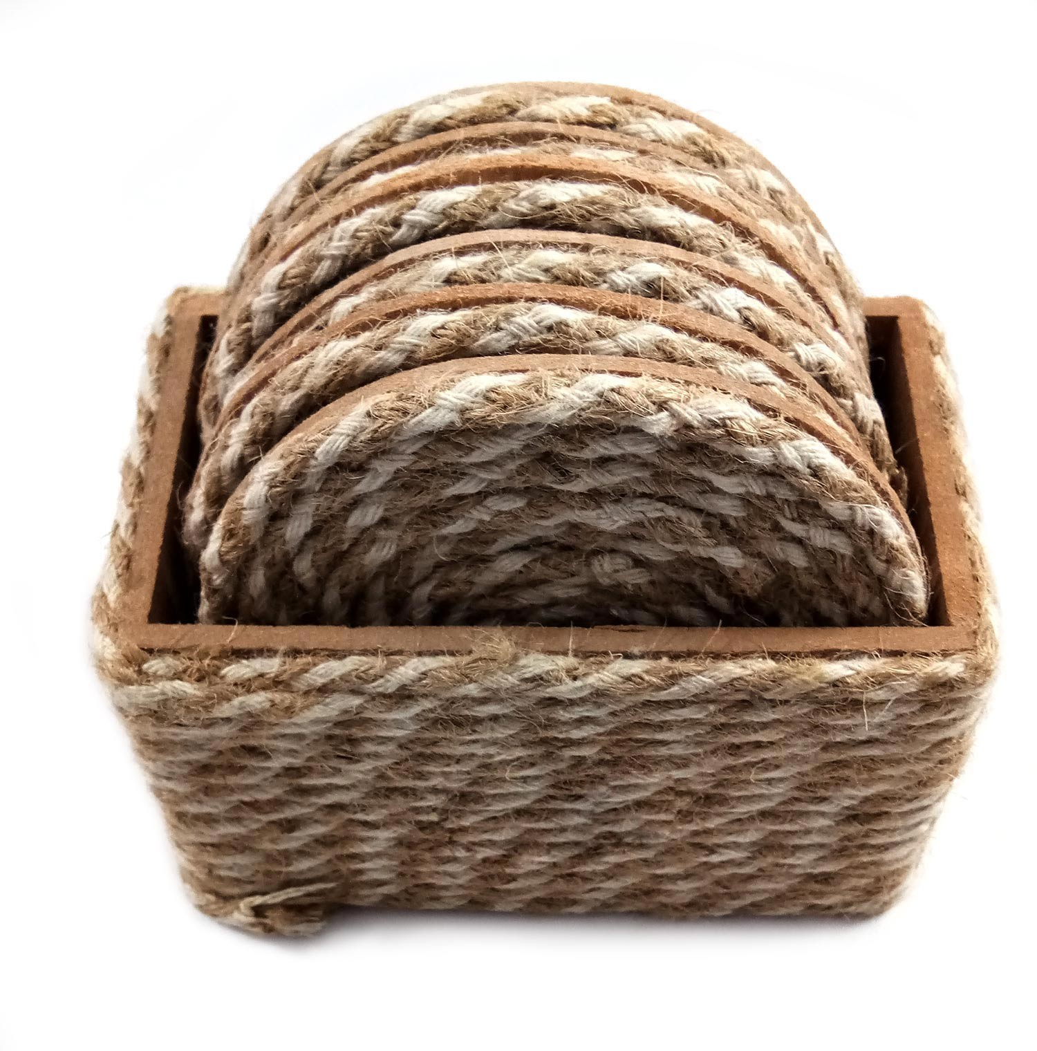 Brown Jute Rope Coaster Set of 6 by person with disability