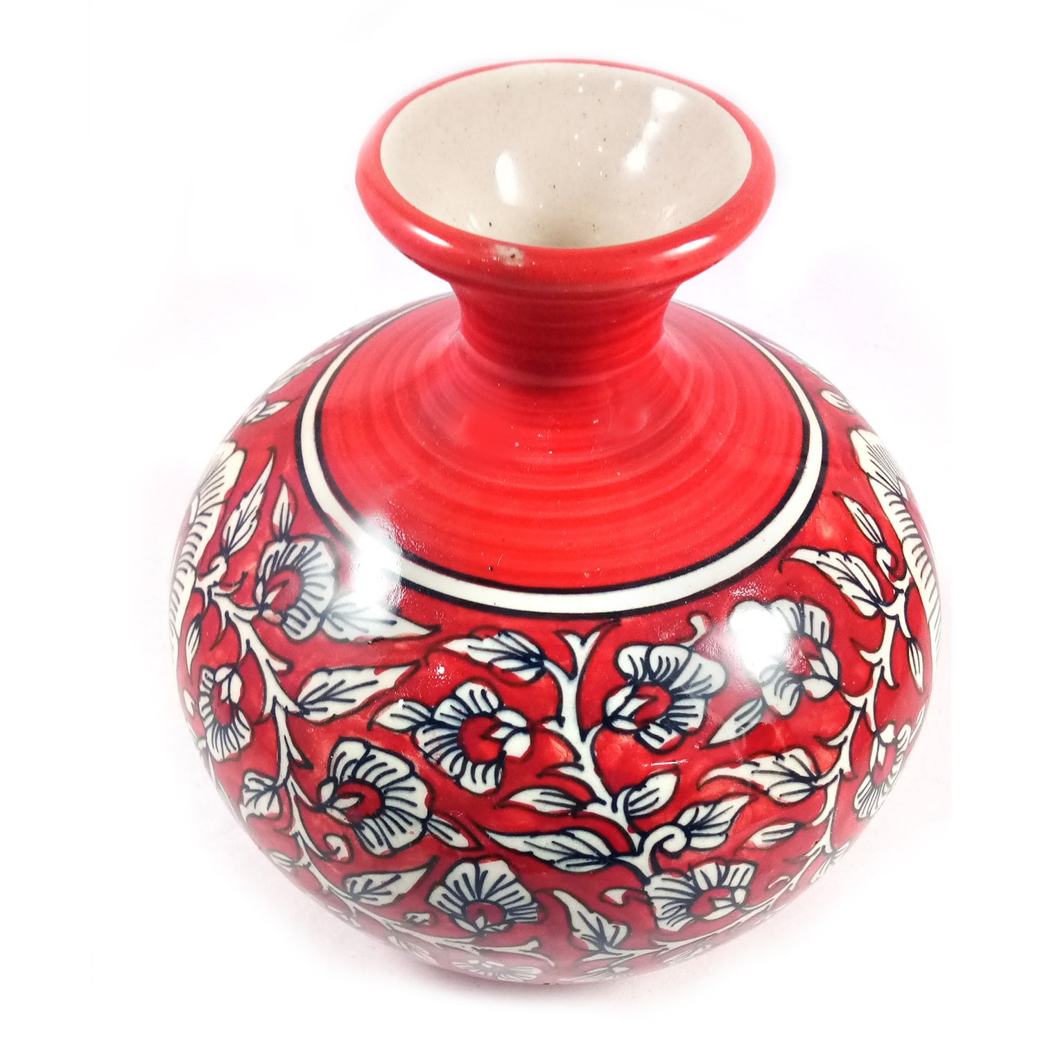Handmade Red with White Flower Painting Vase Red by awarded artisans from UP