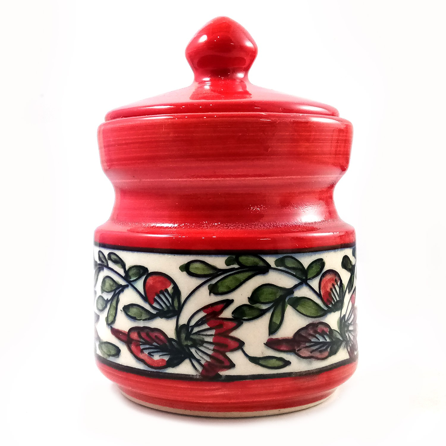 Handmade Red with Multicolor Flower Painting Small Barni/Jar Red by awarded artisans from UP