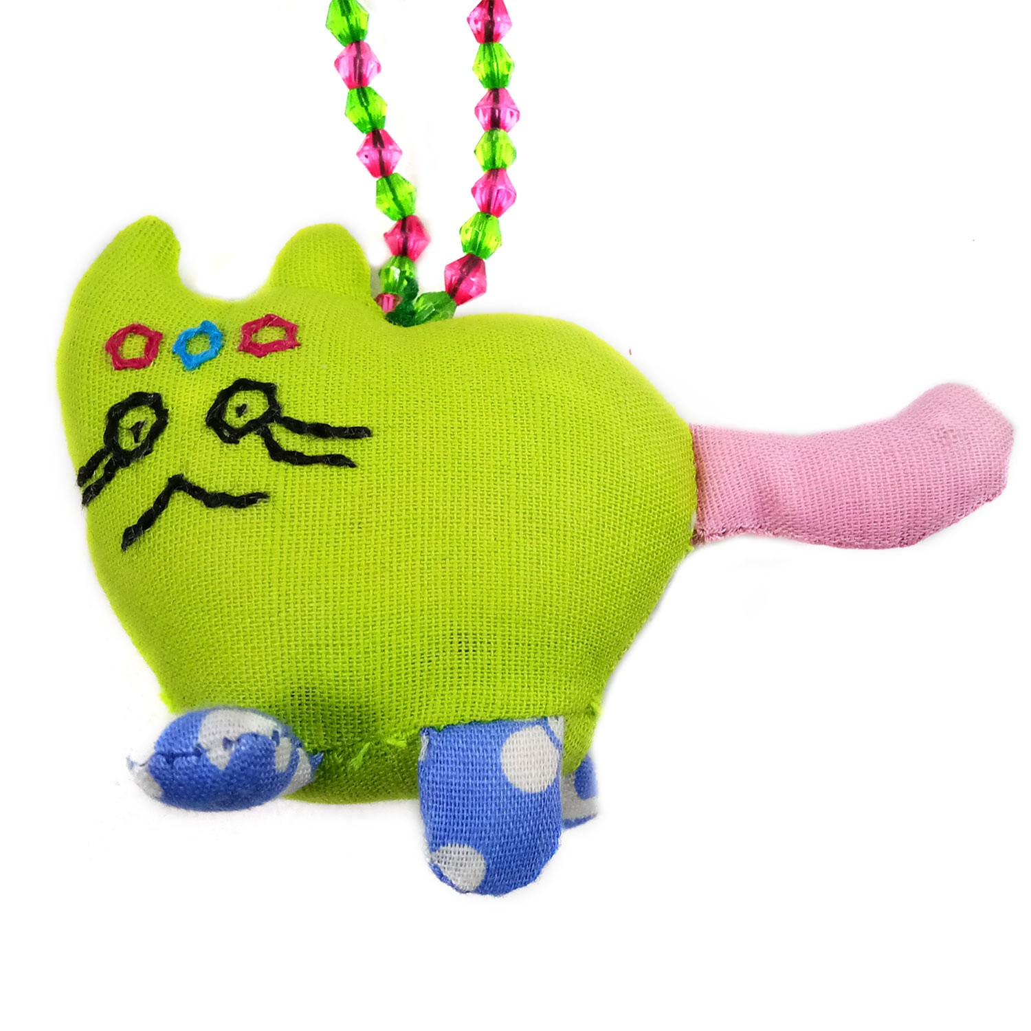 Handmade Multicolor Art Cat Keychain or Keyring | Girls Bag Decoration Charm | Decorative Ornaments  by Rural Artisan.