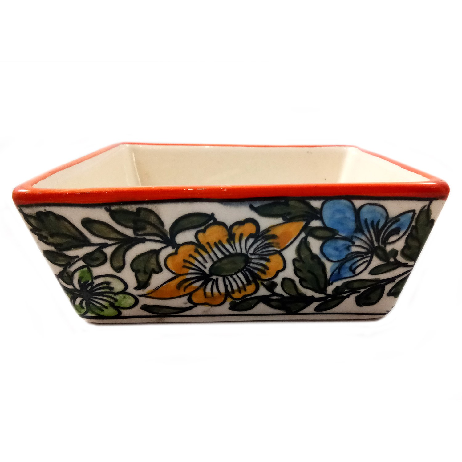 Handmade Orange with Multicolor Flower Painting Small Bowl by awarded artisans from UP