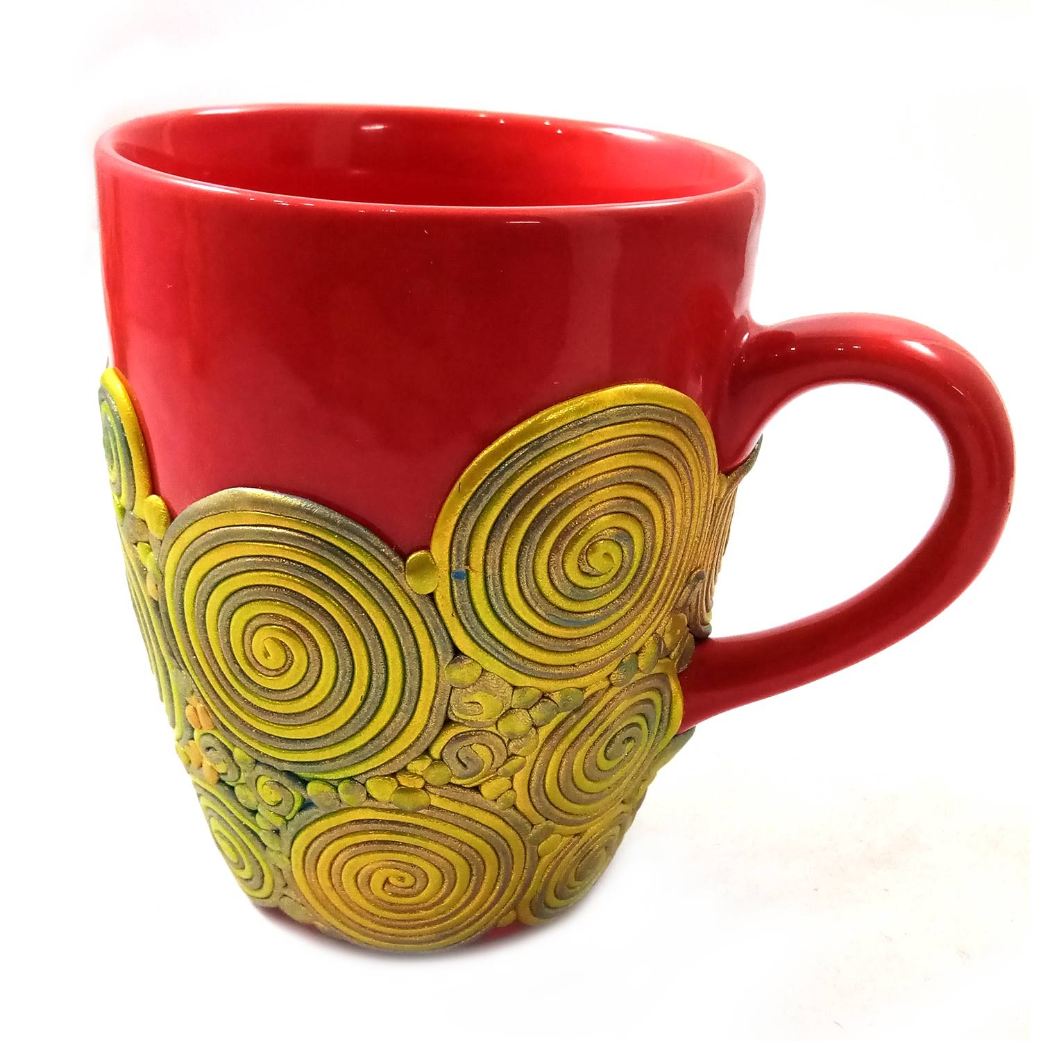 Handmade Red With Yellow Polymer Clay Design Terracotta Type 1 Mug by Women Groups