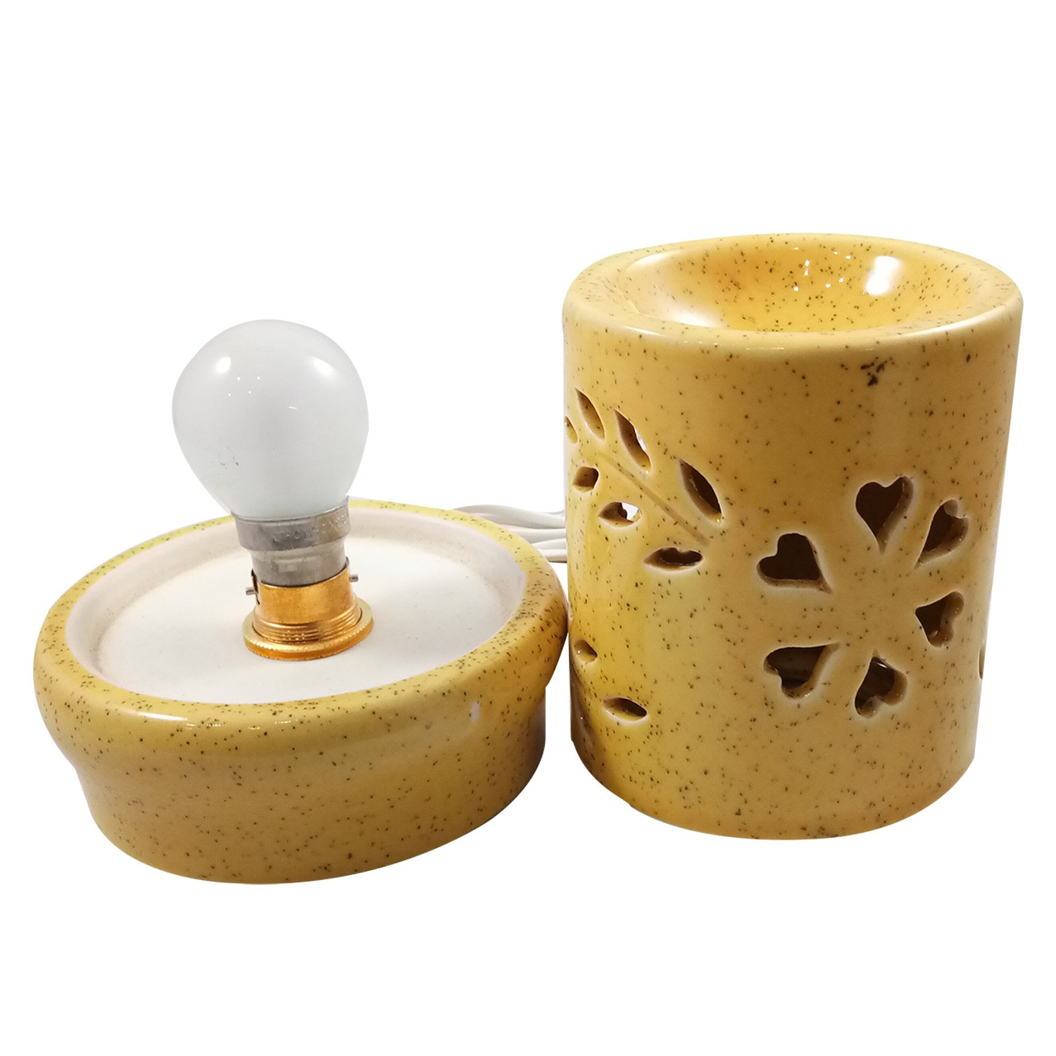 Handmade Ceramic Yellow Ethnic Electric Aroma Diffuser Oil Burner with Lavender Fragrance Oil | Good Quality Aromatherapy Incense Oil Warmer Qty 1
