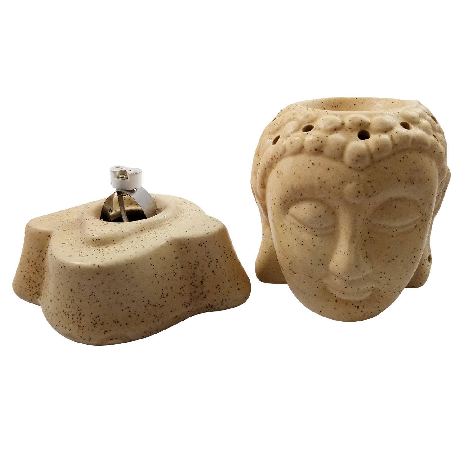 Handmade Ceramic Cream BLK Dot Lord Gautam Buddha Ethnic Electric Aroma Diffuser Oil Burner with Lavender Fragrance Oil Aromatherapy Incense Oil Warmer Qty 1