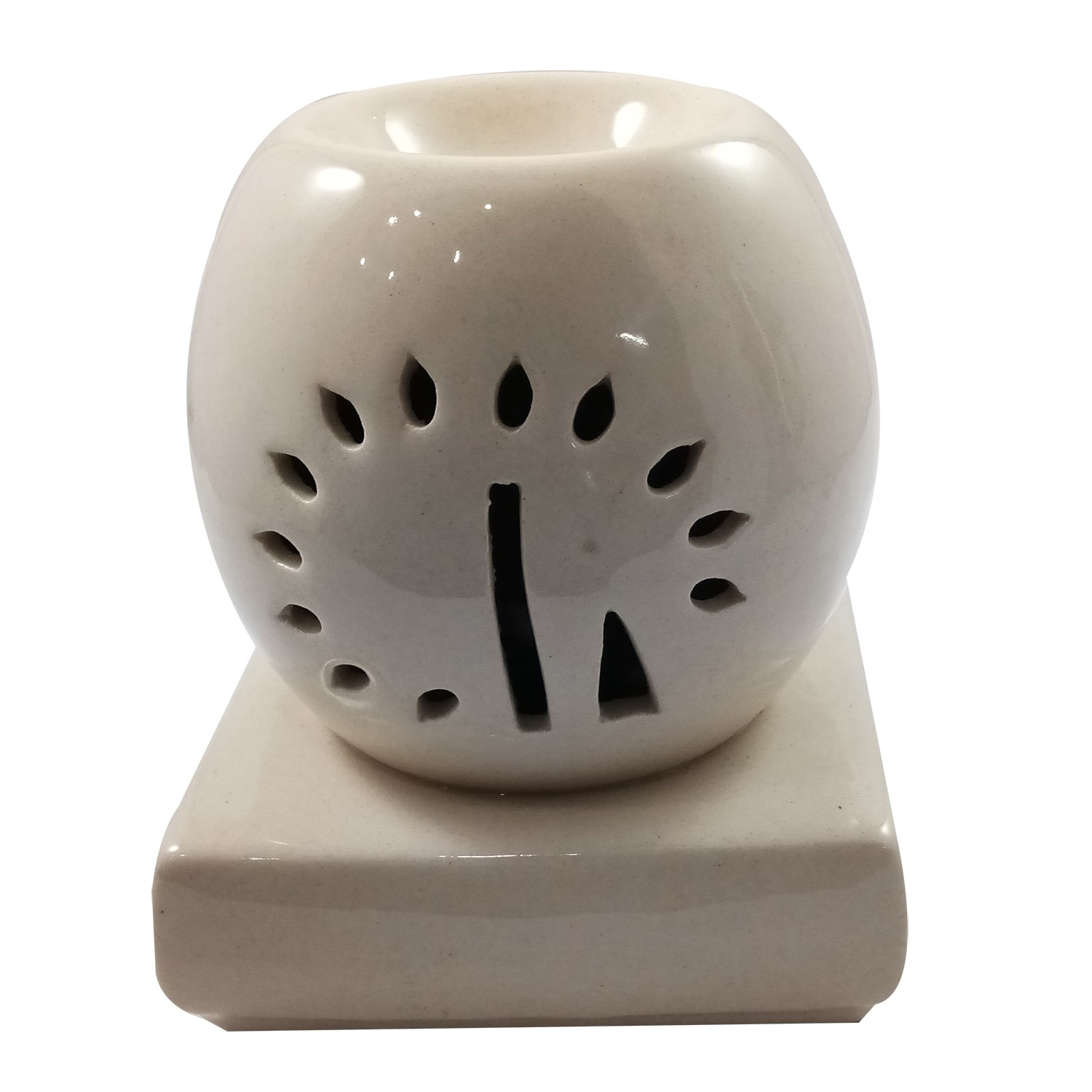 Handmade Ceramic White Ethnic Electric Aroma Diffuser Oil Burner | Good Quality Aromatherapy Incense Oil Warmer Qty 1