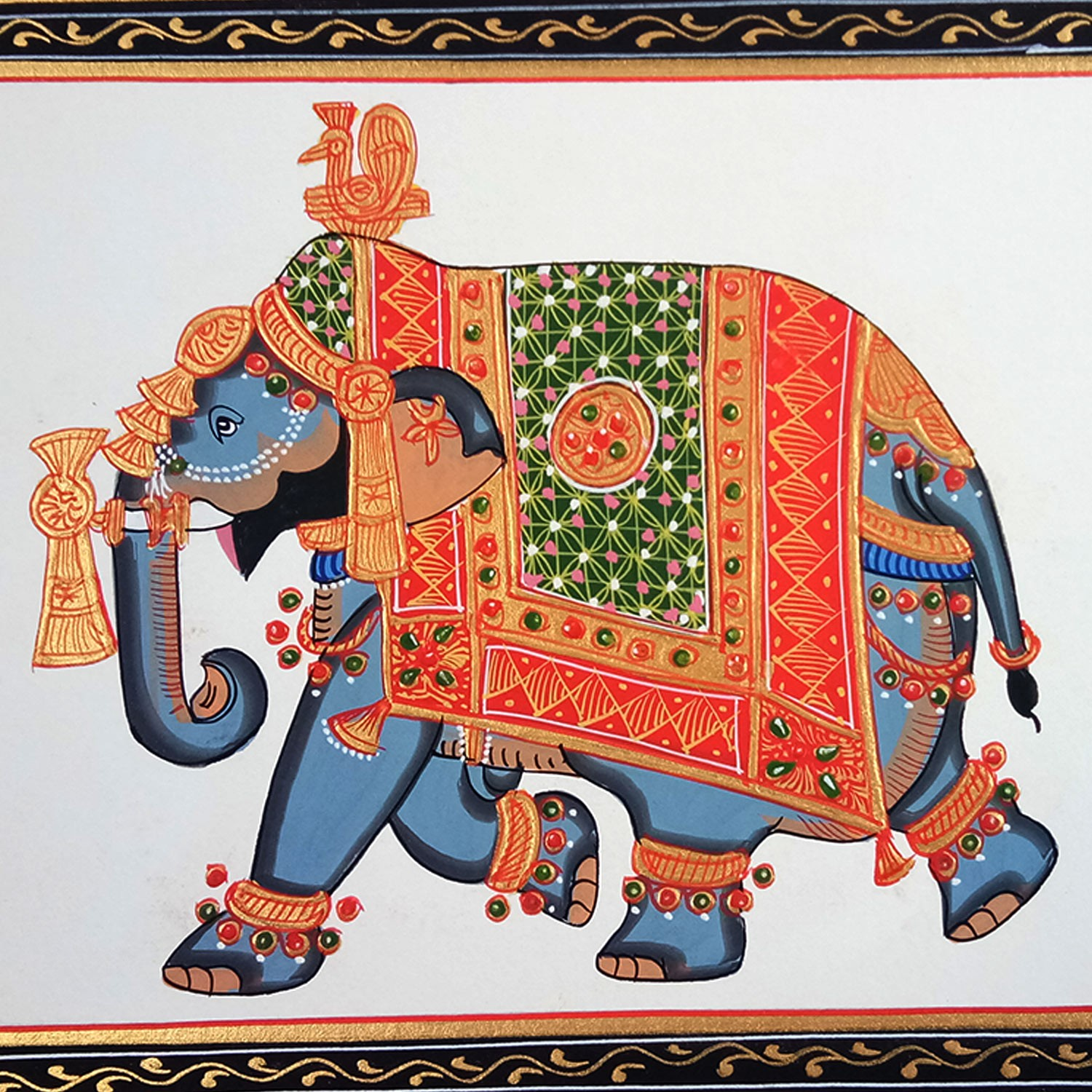 Multicolored (Natural Stone Color) Miniature Painting on Silk of Decorated Elephant by Rajasthani Artist