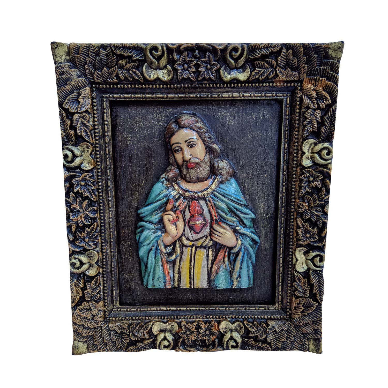"India Meets India Handicraft Lord Jesus Wall Hanging, Wall Décor, 13""x12"" Inch, Best Gifting Made By Awarded Indian Artisan"