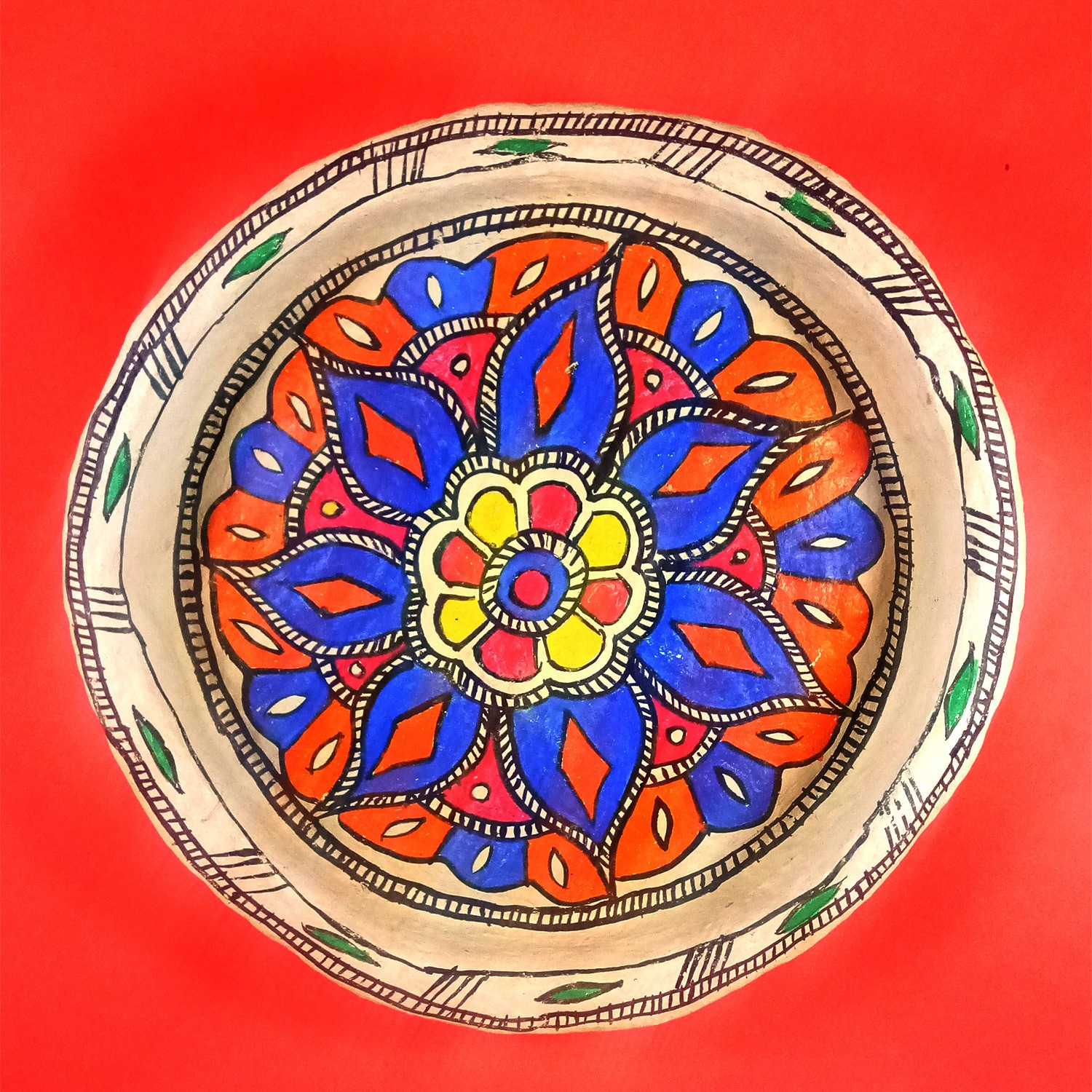 Handmade exclusive paper mache  Multicolor Plate With  Beautiful Madhubani Painting By Rural Artisan.