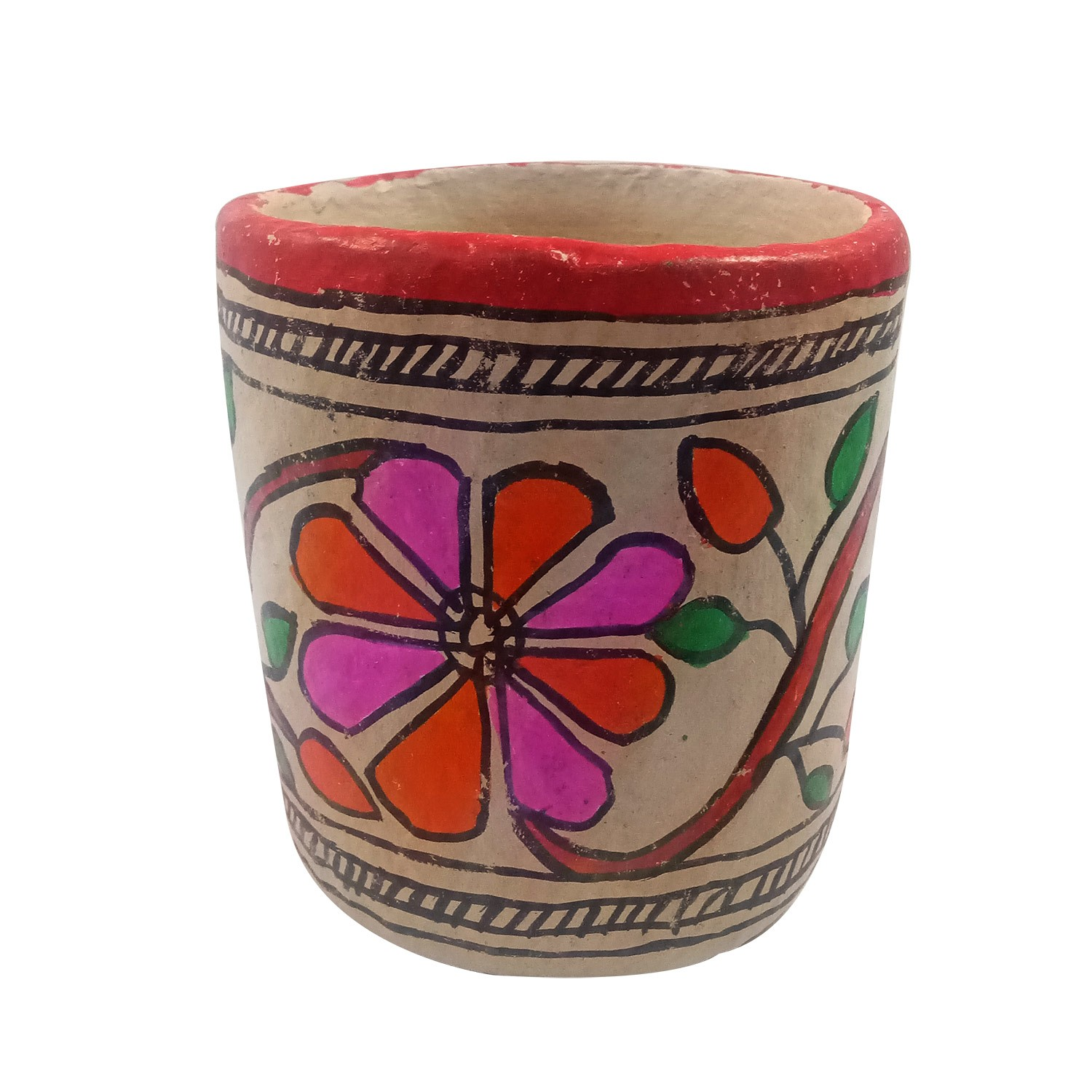 Handmade exclusive paper mache  Multicolor Pen Holder With  Beautiful Madhubani Painting By Rural Artisan.