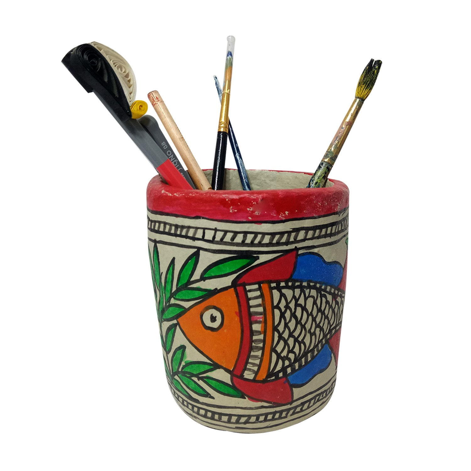 Handmade exclusive paper mache  Multicolor Pen Stand With  Beautiful Madhubani Painting By Rural Artisan.