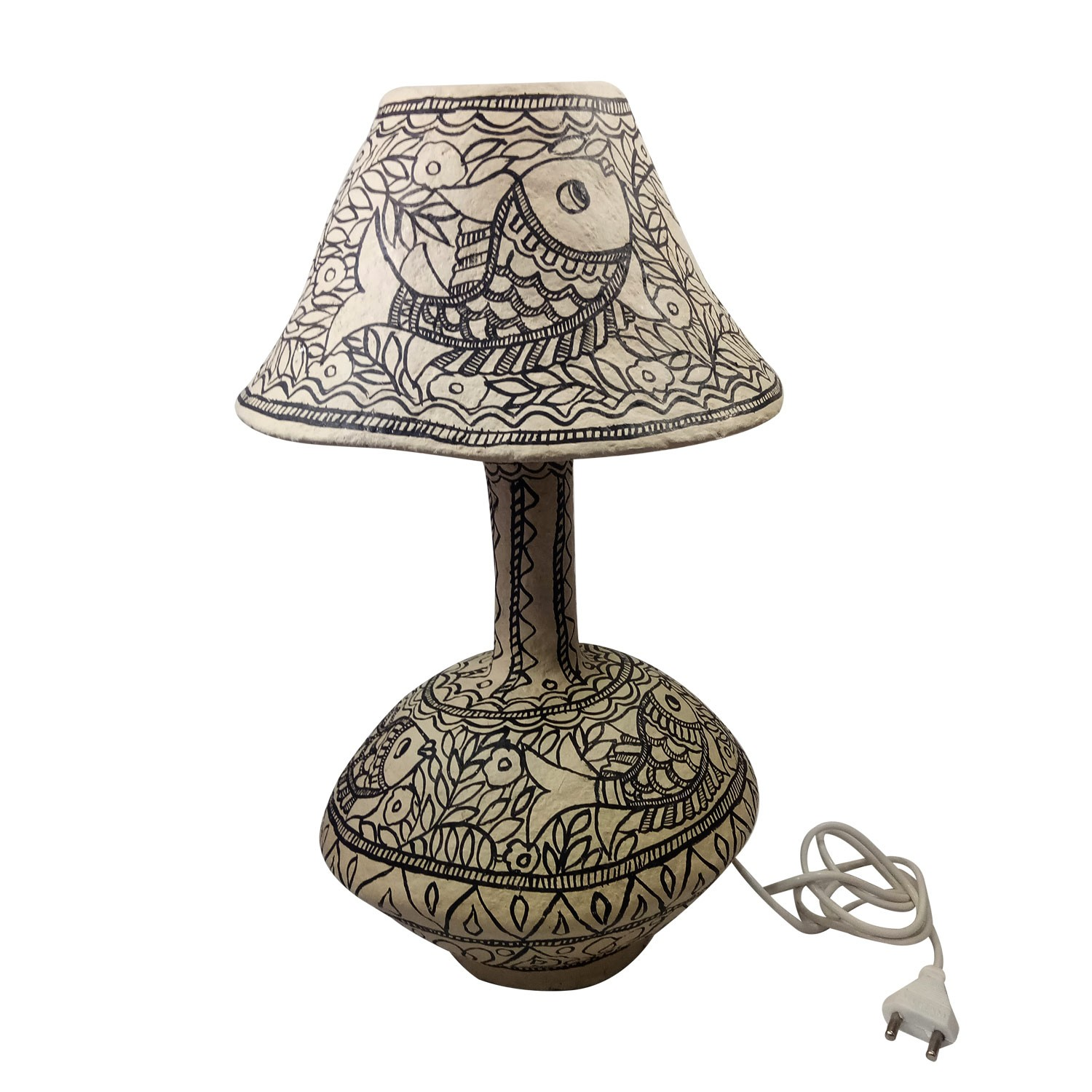 Handmade exclusive paper mache  Multicolor Lamp With  Beautiful Madhubani Painting By Rural Artisan.