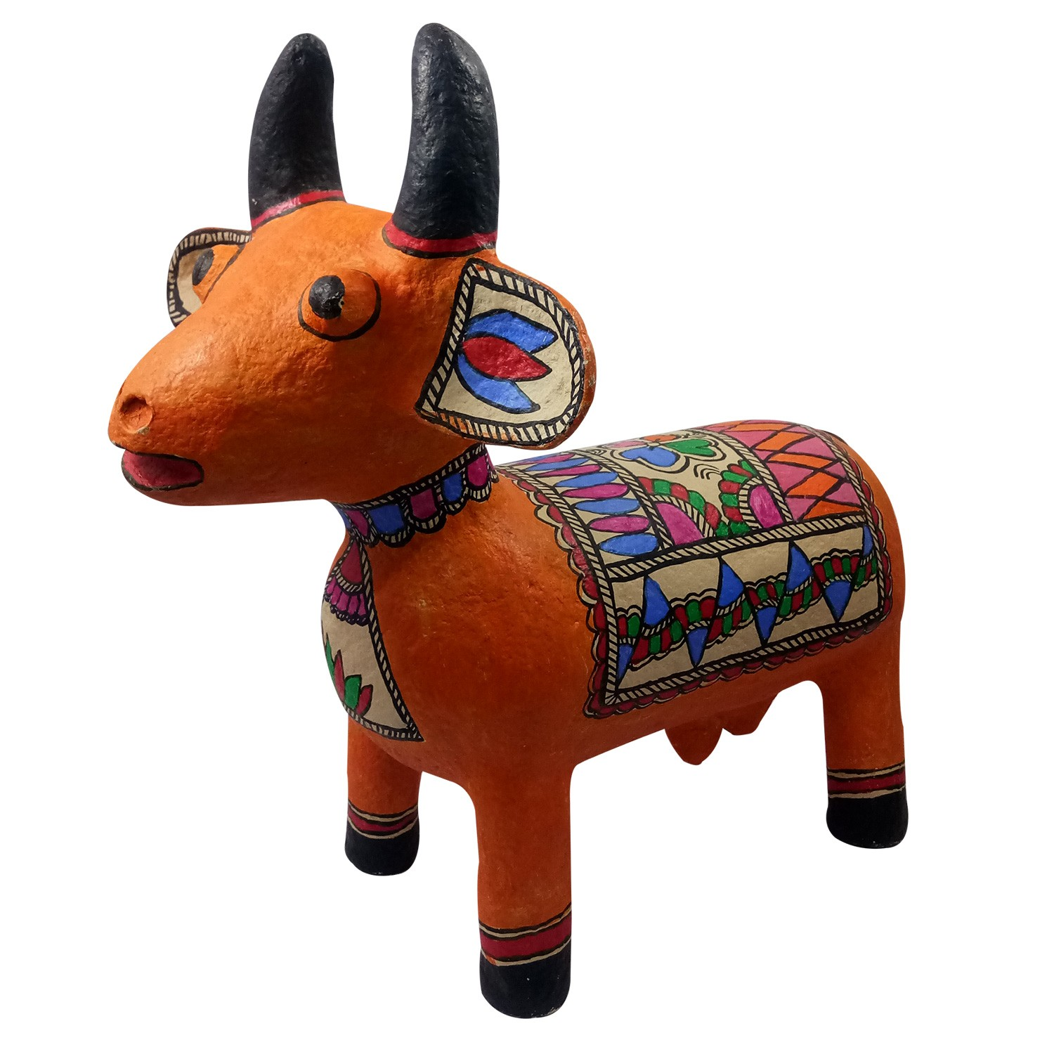 Handmade exclusive paper mache  Multicolor Cow With  Beautiful Madhubani Painting By Rural Artisan.