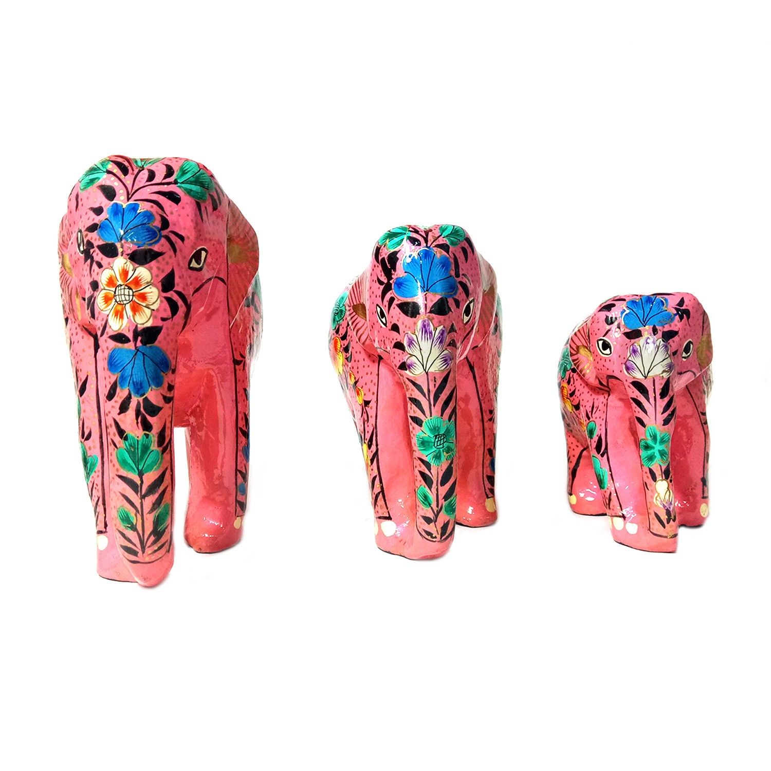 Handmade exclusive paper mache Pink Elephant Set of 3 By Rural Artisan.