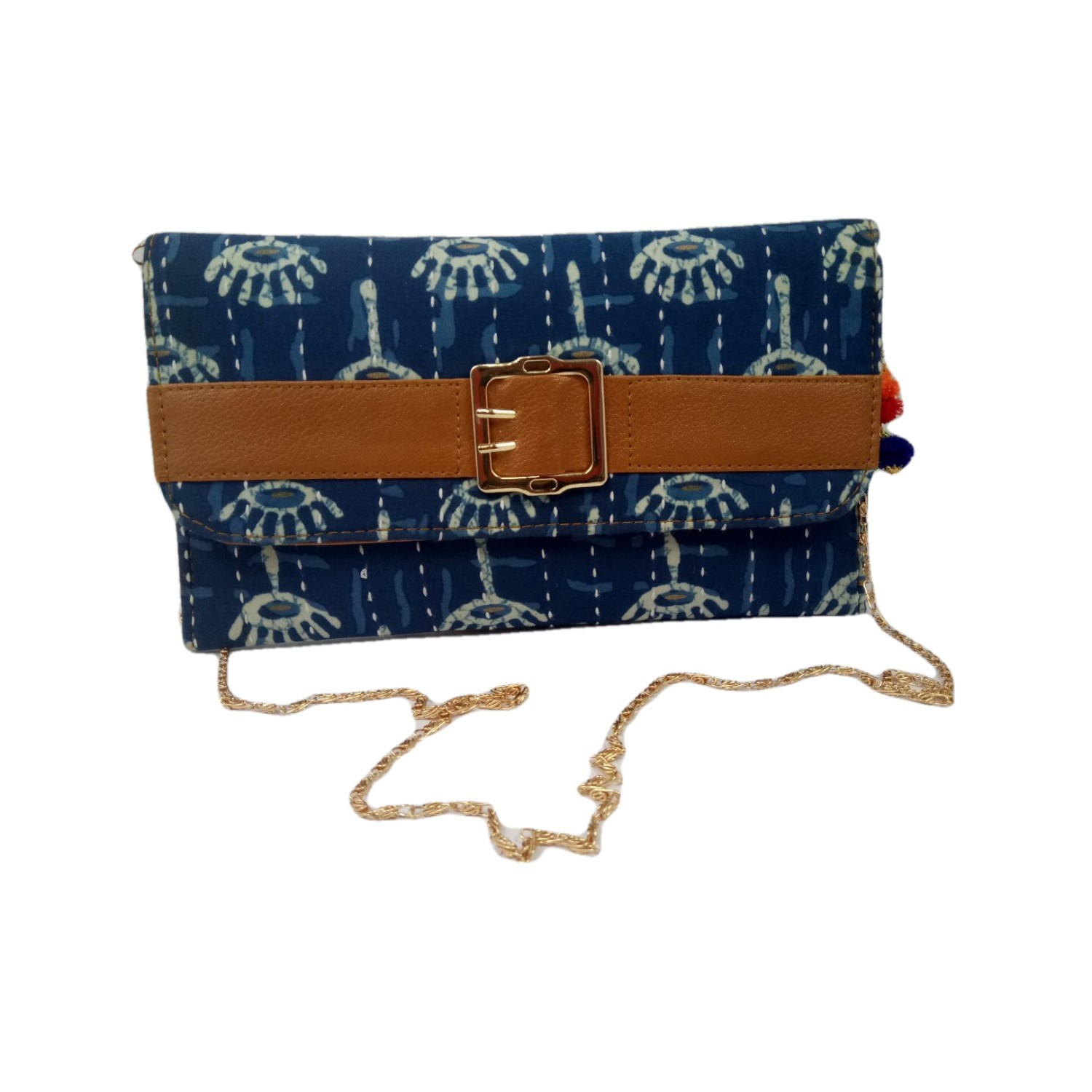 Handmade Excellent Blue Genuine Clutch With Detachable Chain by Women Self Help Groups of Rajasthan