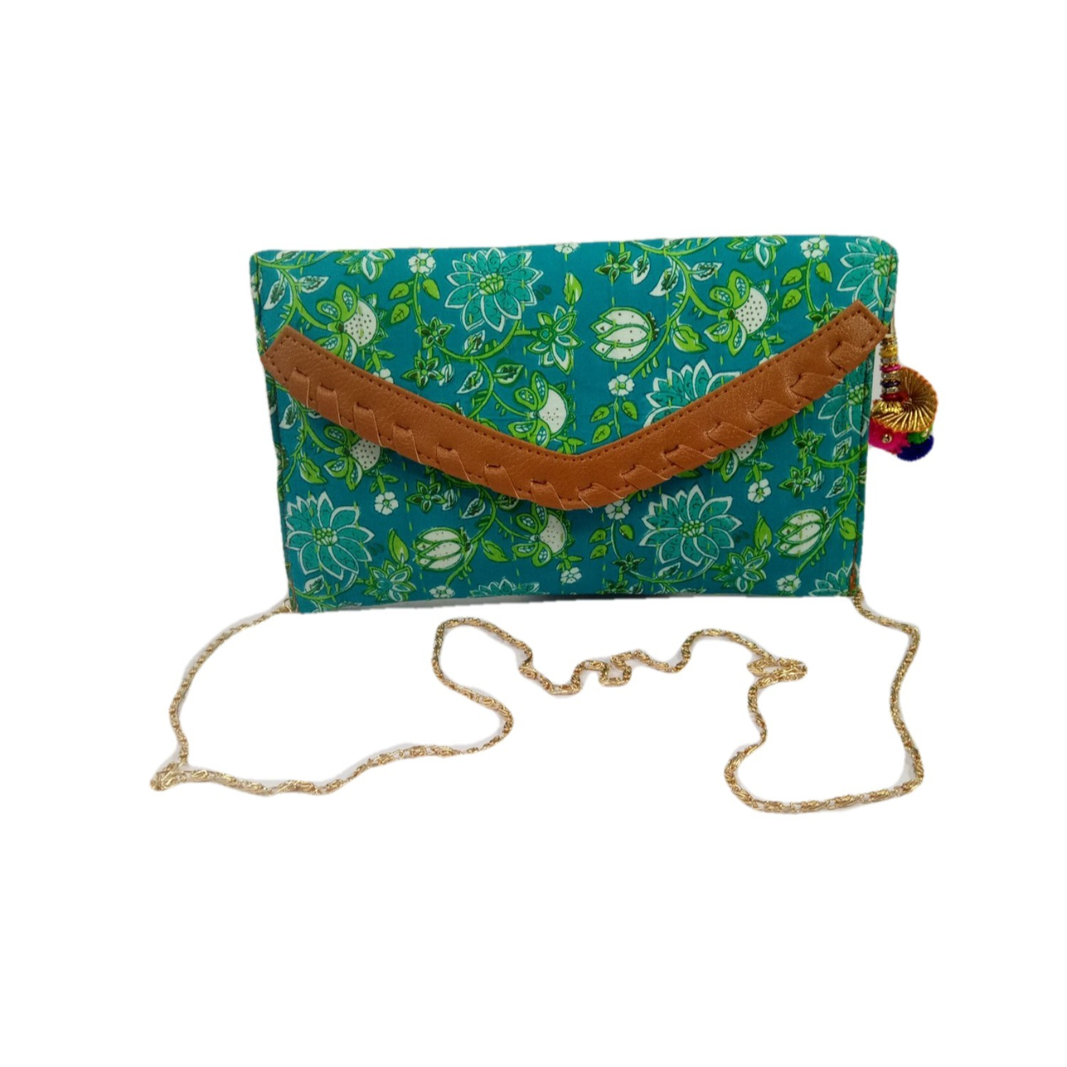 Handmade Excellent Green Genuine Clutch With Detachable Chain by Women Self Help Groups of Rajasthan