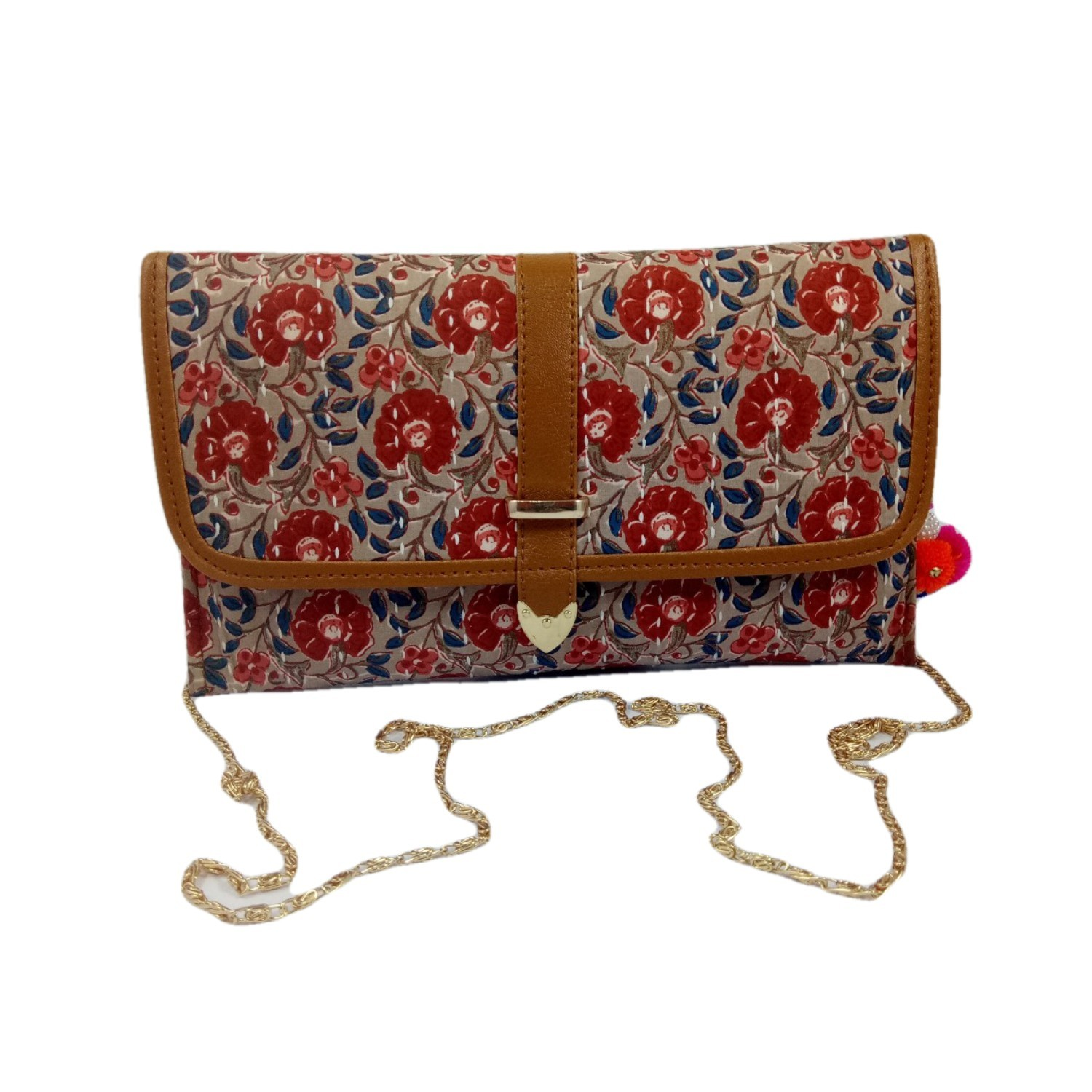 Handmade Excellent Cream Genuine Clutch With Detachable Chain by Women Self Help Groups of Rajasthan