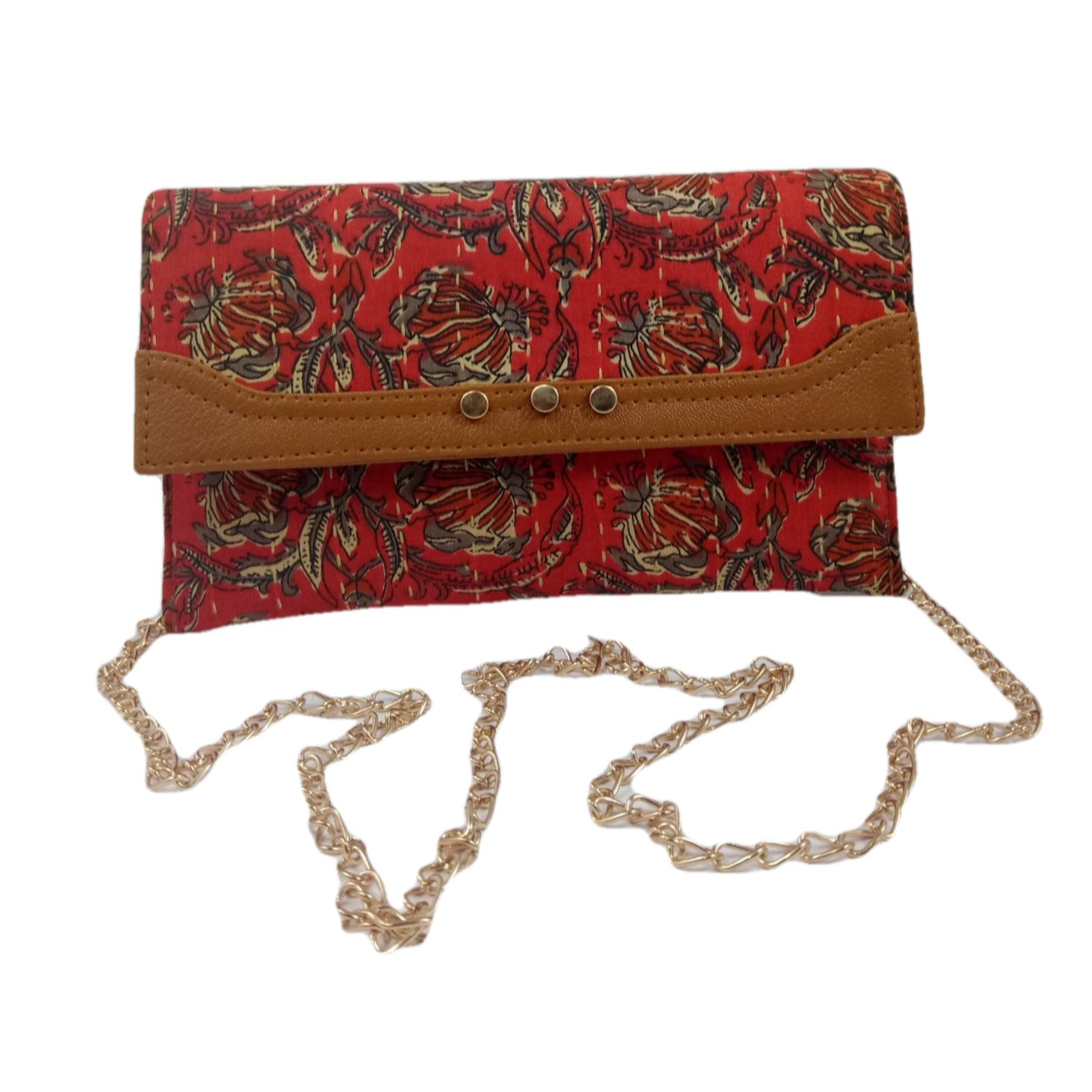 Handmade Excellent Red Genuine Clutch With Detachable Chain by Women Self Help Groups of Rajasthan