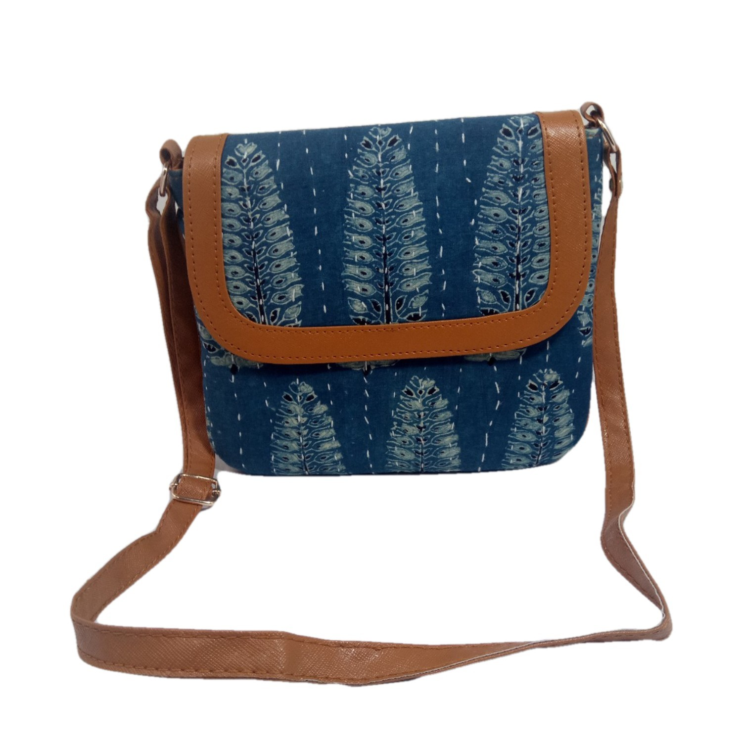 Handmade Excellent Blue Genuine Clutch or Shoulder Bag by Women Self Help Groups of Rajasthan