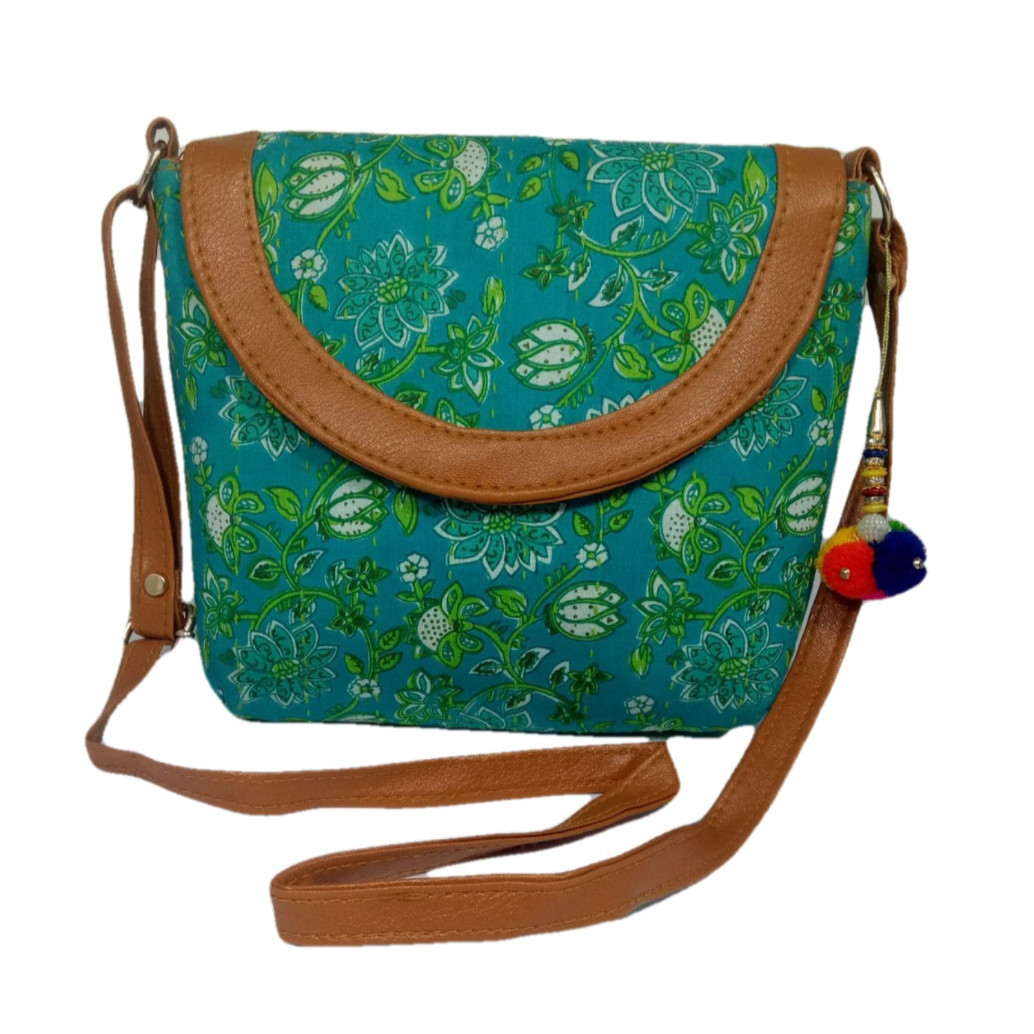 Handmade Excellent See Green Genuine Clutch or Shoulder Bag by Women Self Help Groups of Rajasthan