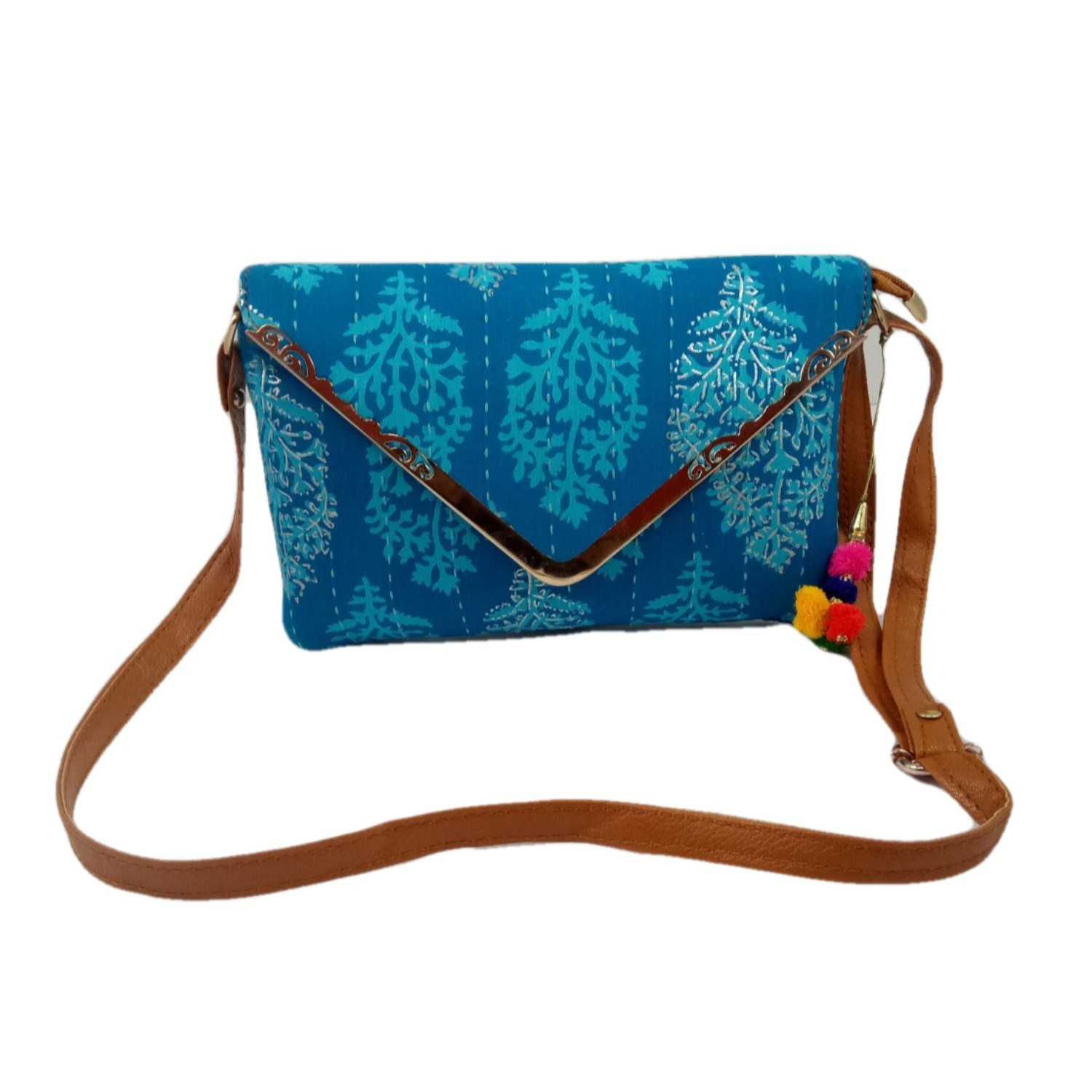 Handmade Excellent Sky Blue Genuine Clutch or Shoulder Bag by Women Self Help Groups of Rajasthan