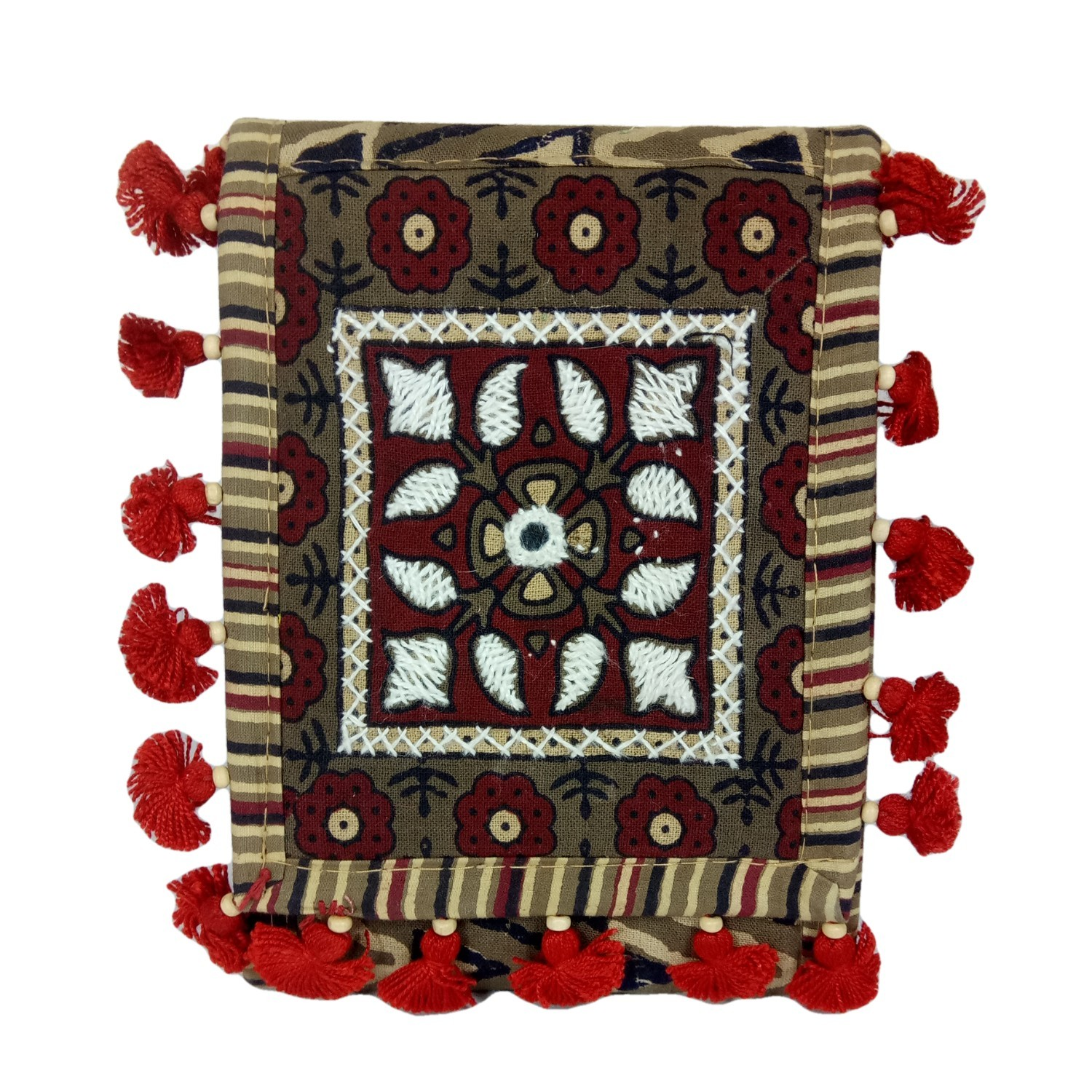 Handmade Excellent Red Genuine Shoulder Bag by Women Self Help Groups of Rajasthan