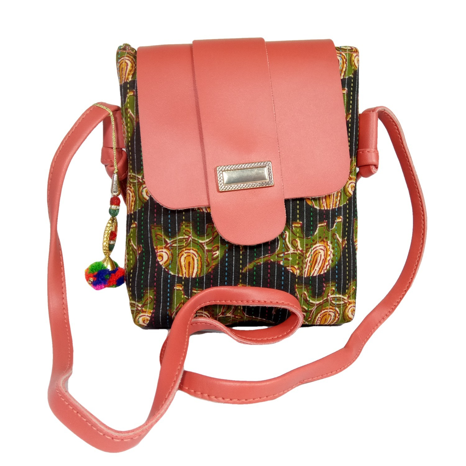Handmade Excellent Black & Pink Genuine Shoulder Bag by Women Self Help Groups of Rajasthan