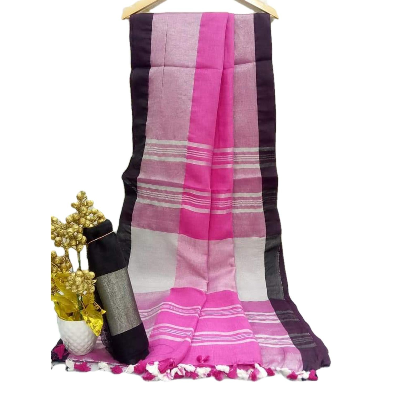 Exclusive Bhagalpuri Handloom Cotton linen saree with Black border with beautifully decorate soft tussels By Weaver'S Of Bhagalpur Bihar