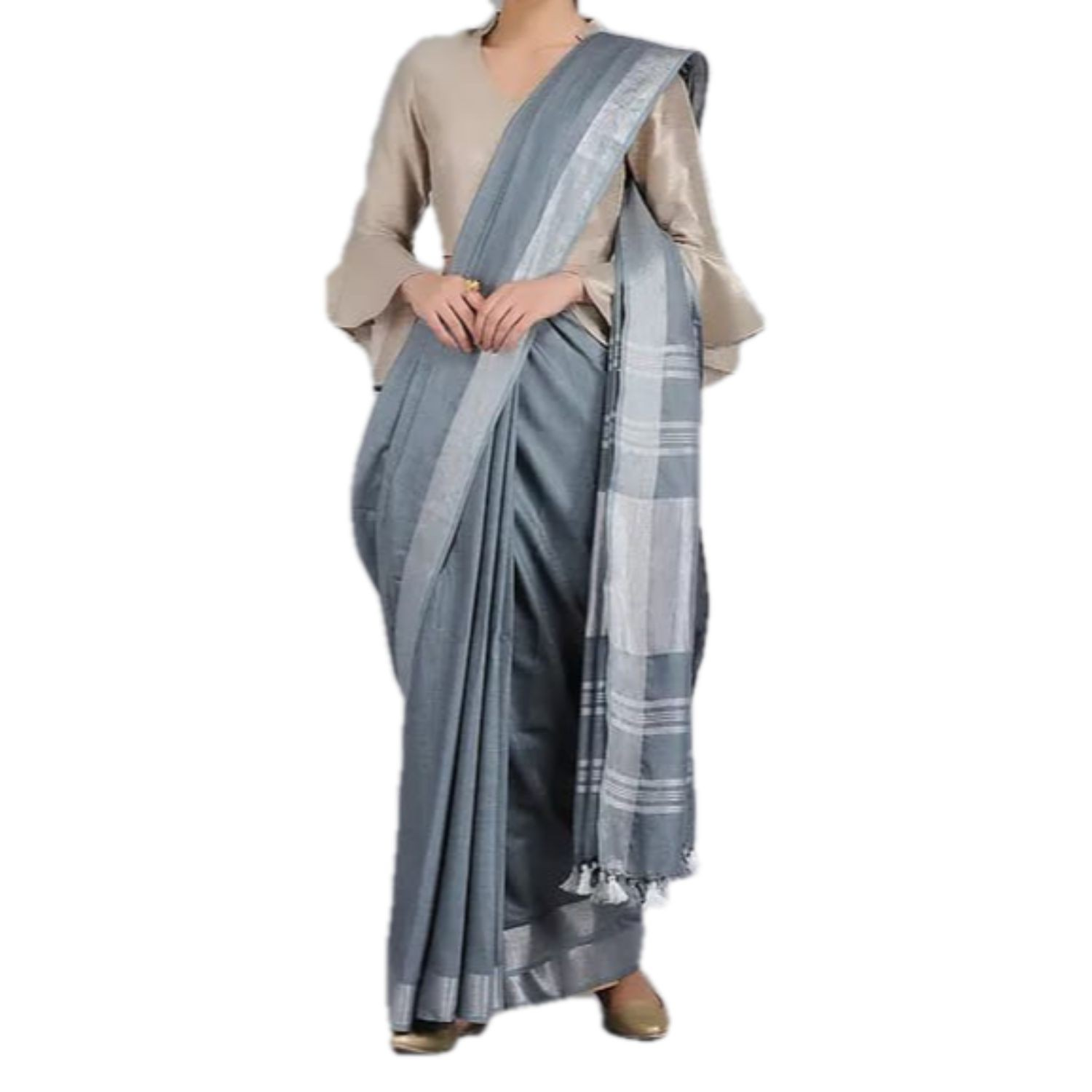 Exclusive Ethnic Indian Women's Bhagalpuri Handloom Cotton linen saree with running blouse and with Silver border with beautifully decorate soft tussels By Weaver'S Of Bhagalpur Bihar