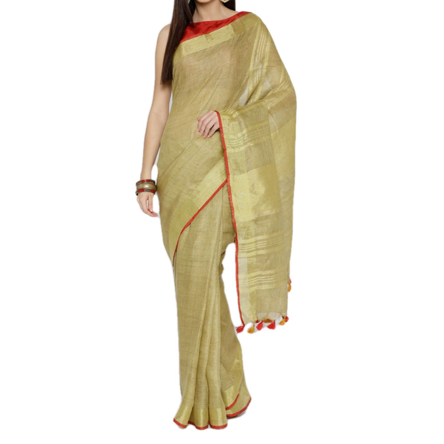 Exclusive Ethnic Indian Women's Bhagalpuri Handloom Cotton linen saree with Red border with beautifully decorate soft tussels By Weaver'S Of Bhagalpur Bihar