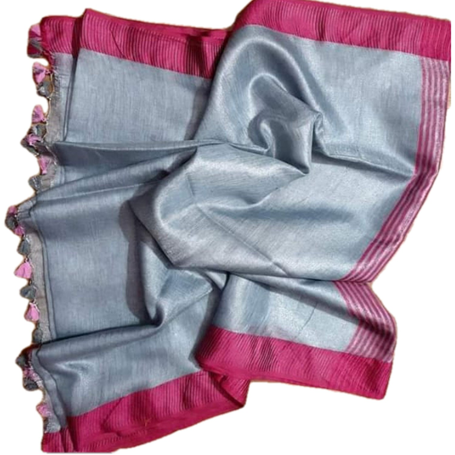 Ethnic Indian Women's Bhagalpuri Handloom Beautiful Linen Tissue Saree with Running Blouse  Grey With Pink Border
