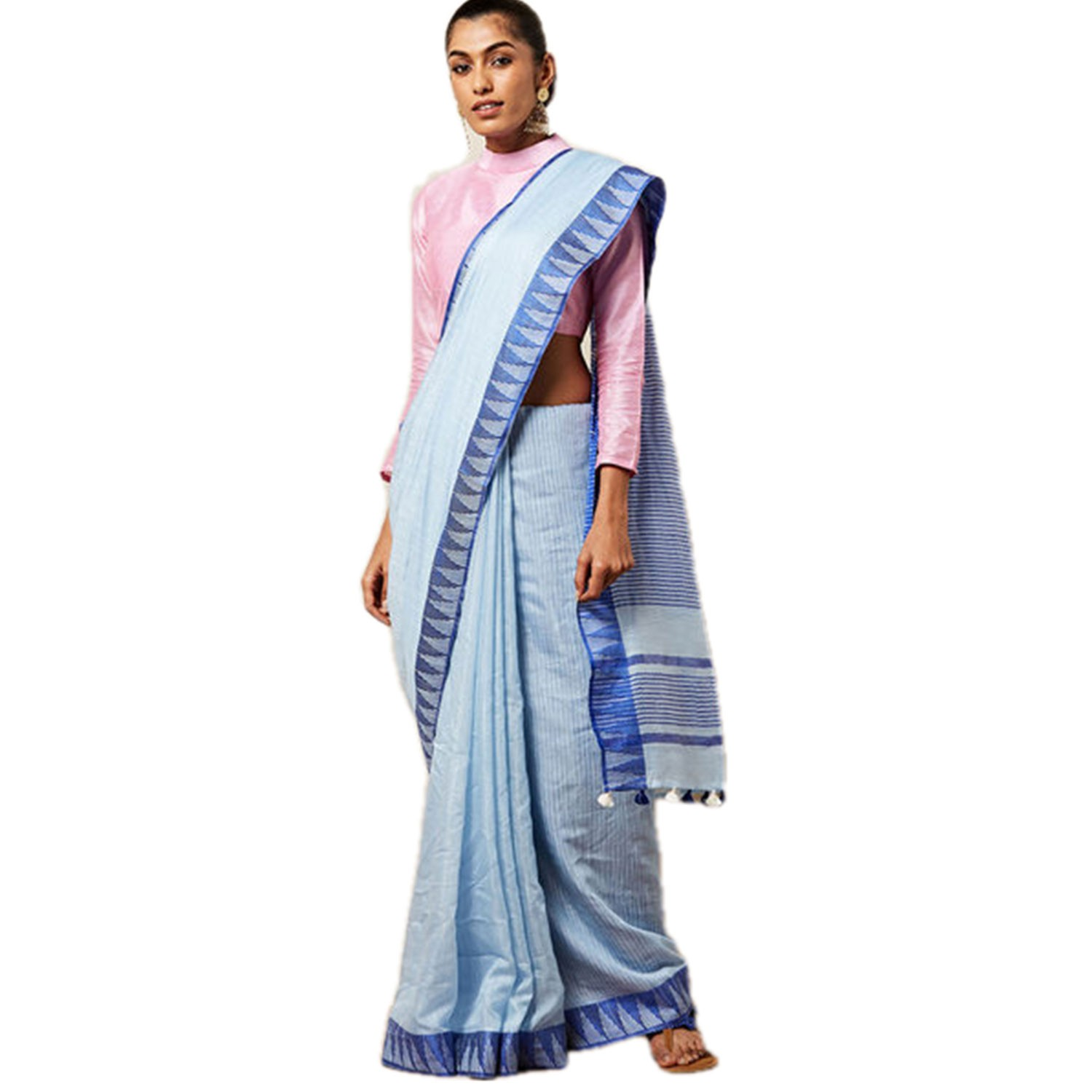 Ethnic Indian Women's Bhagalpuri Handloom Kota silk Saree with contrast temple border and tussels (Sky Blue)