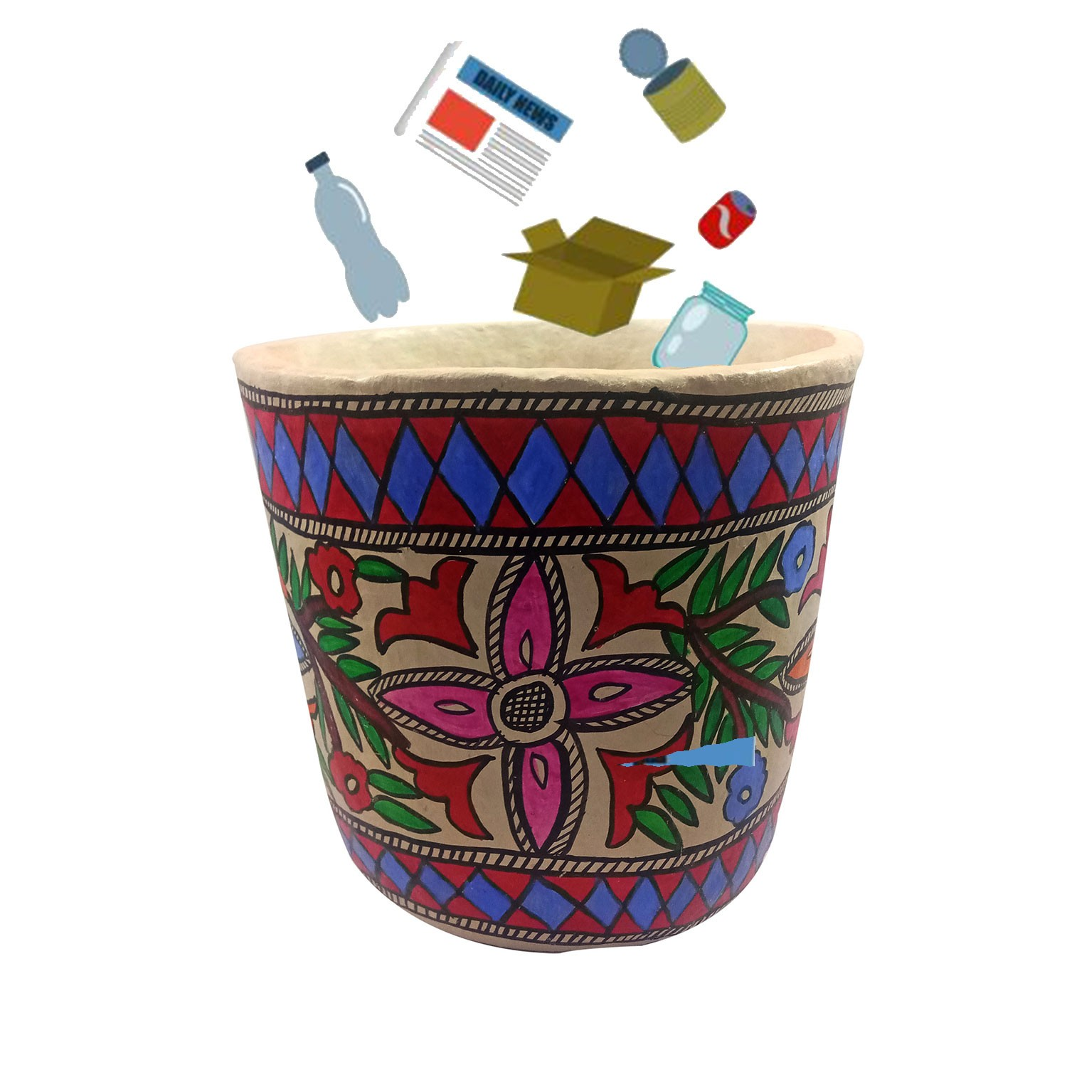 Handmade exclusive paper mache  Multicolor Dustbin With  Beautiful Madhubani Painting By Rural Artisan.