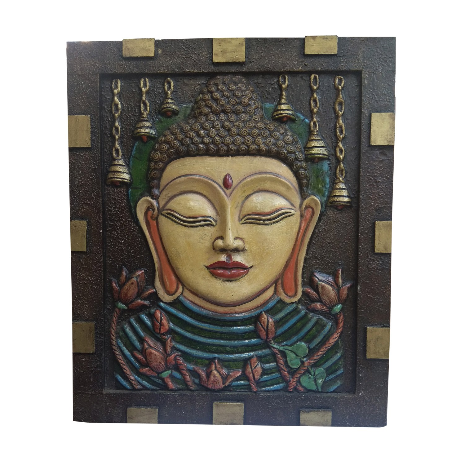 """India Meets India Handicraft Lord Budha Fibre Handpainted Installed On Wooden Wall Hanging 36""""X30"""" Inch, Best Gifting Made By Awarded Indian Artisan"""
