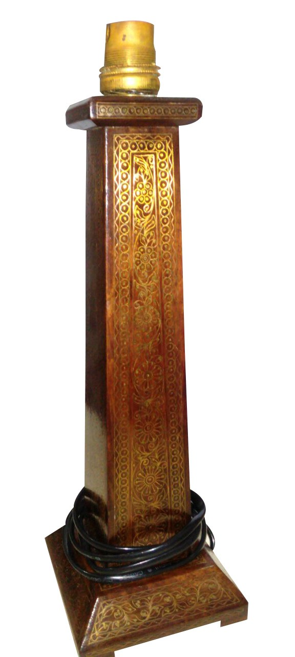 Exclusive Wooden Lamp With Fine Brass And Copper Inlay by Rural Artisans
