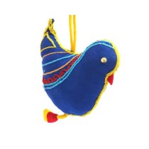 Blue Handmade Aari Work Decorative Bird Hanging by Women Self Help Groups