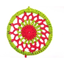 Handmade Green Red Crochet Dream Catcher Hanging by Women Self Help Groups